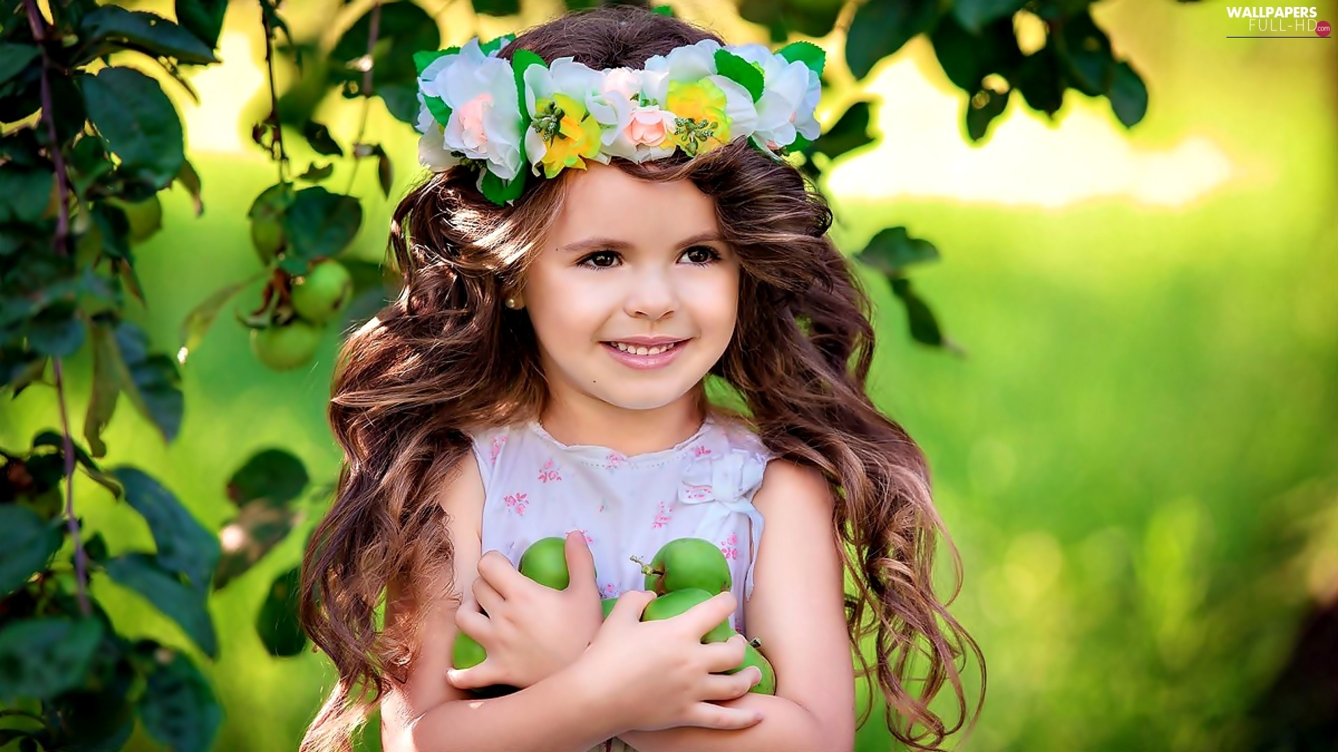 apples, green ones, girl, wreath