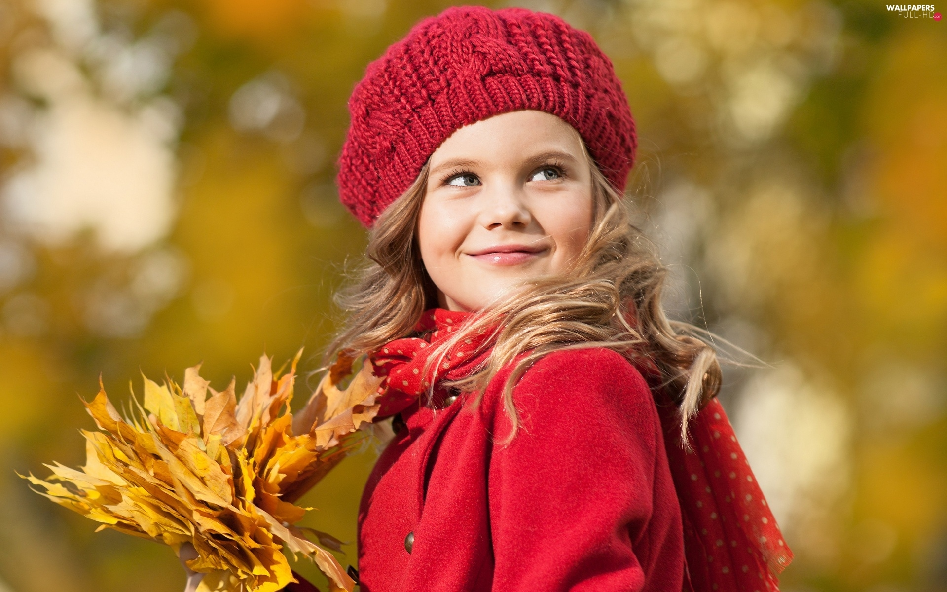 autumn, Leaf, pretty, girl