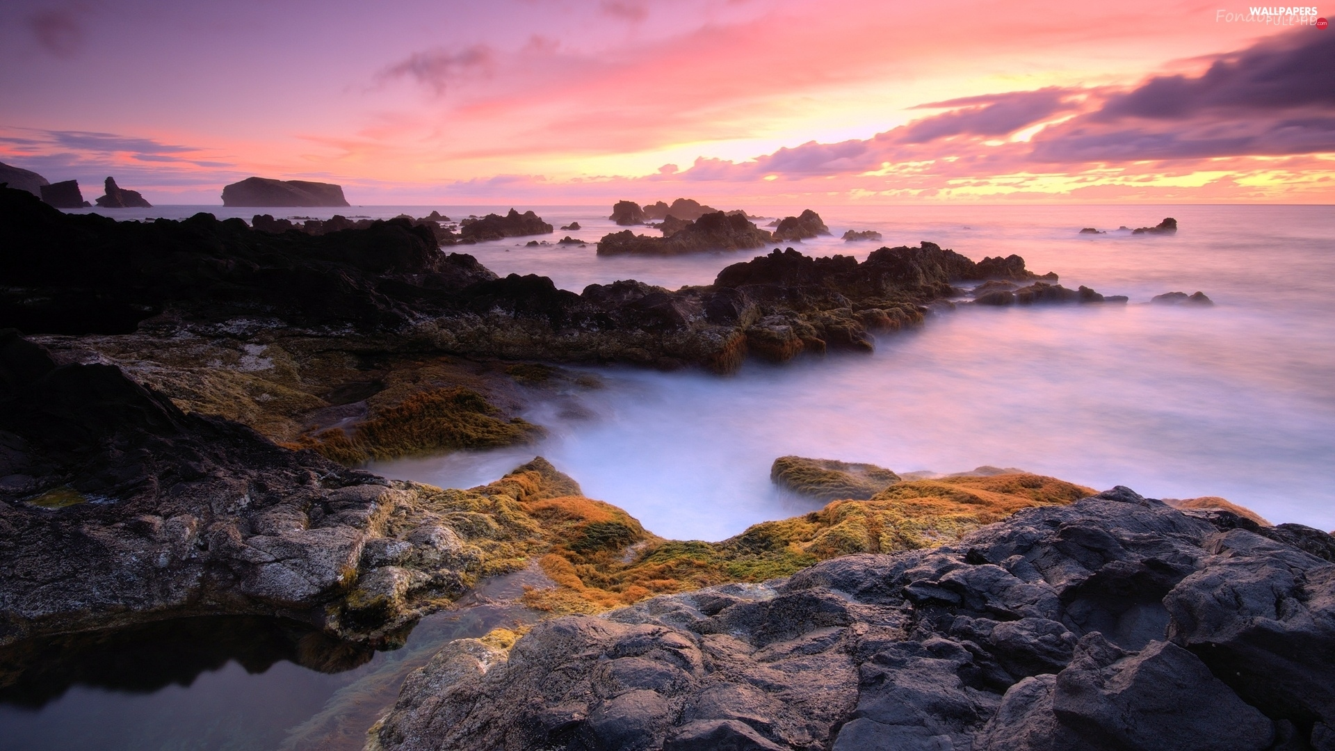 Azores, Great Sunsets, sea, Portugal, rocks