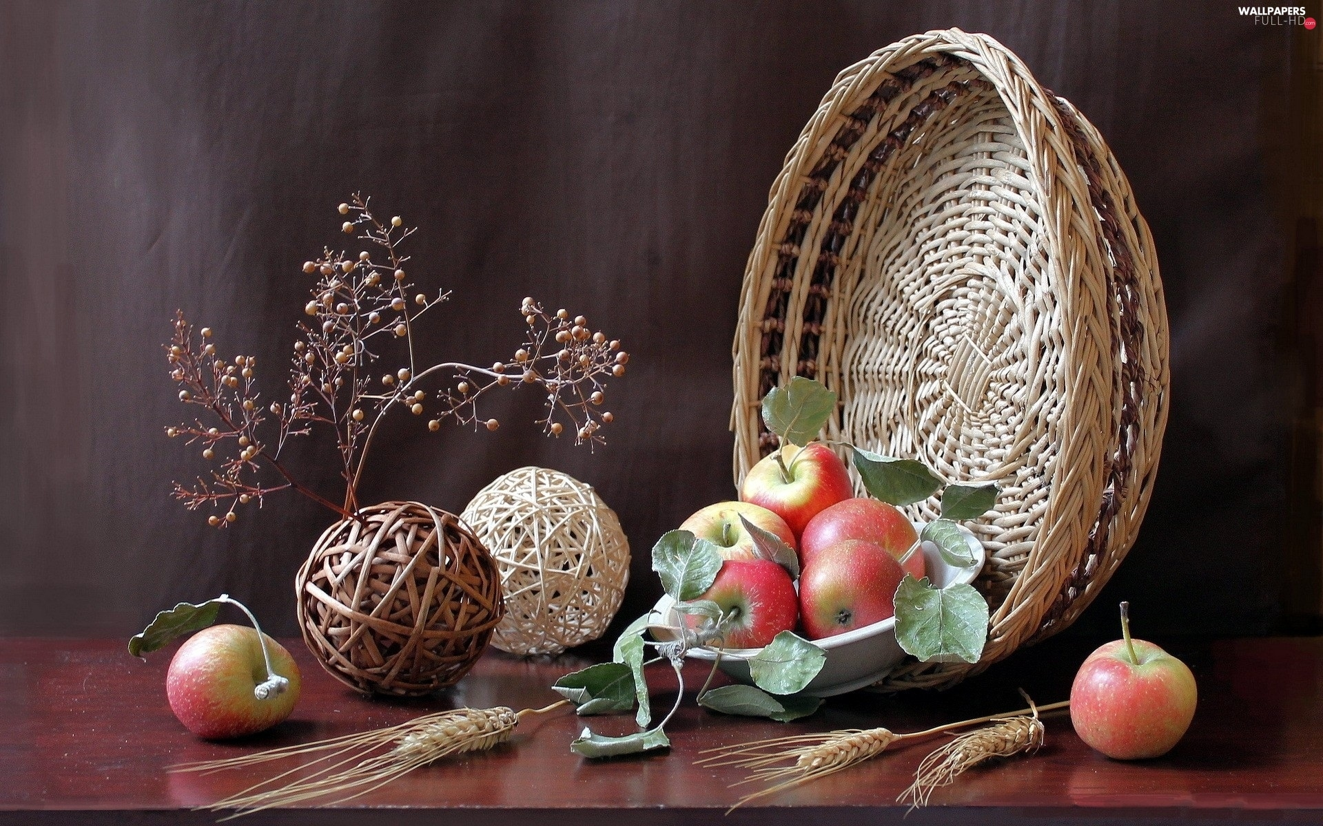 basket, Ears, composition, apples