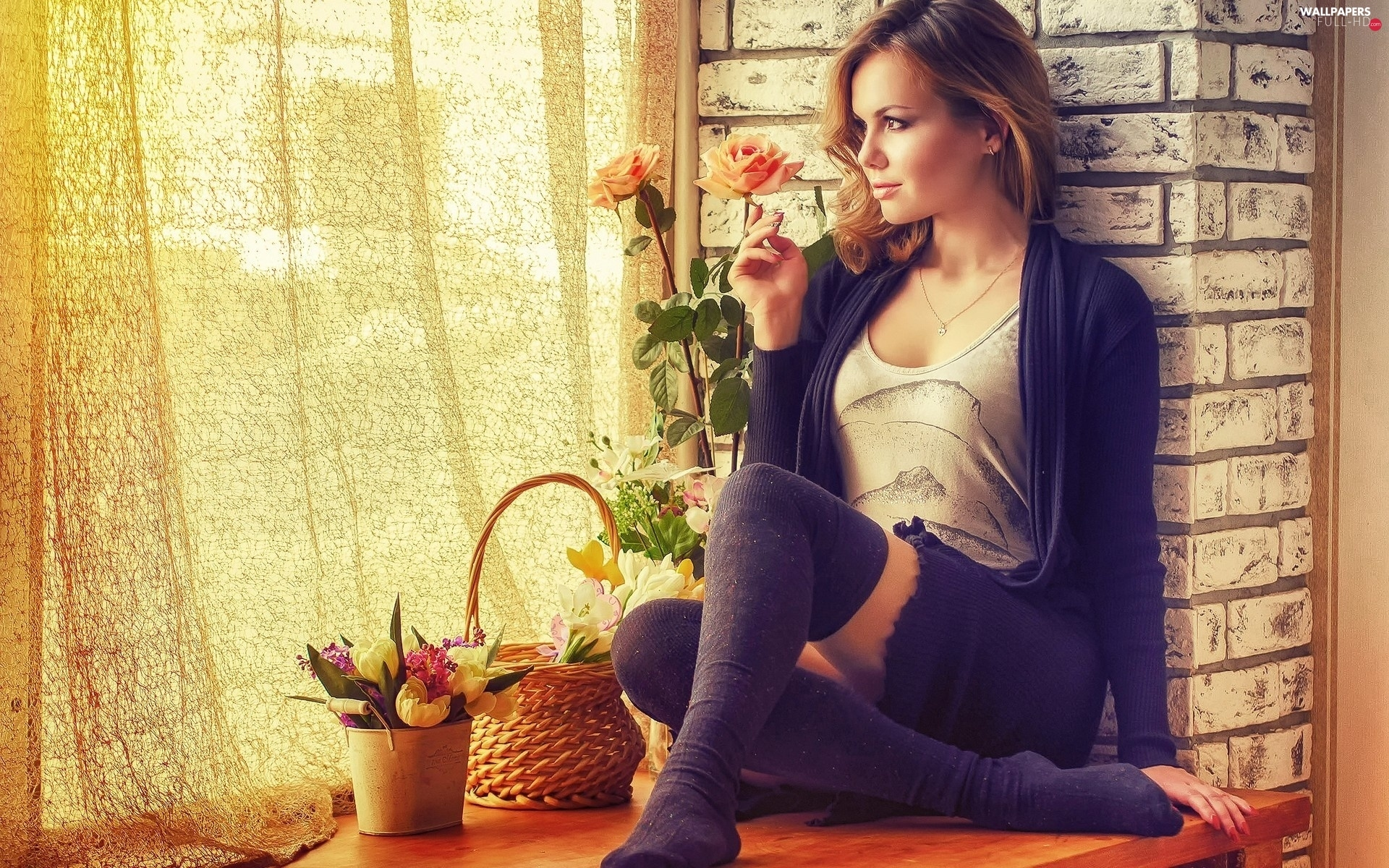 basket, Window, staring, Flowers, girl