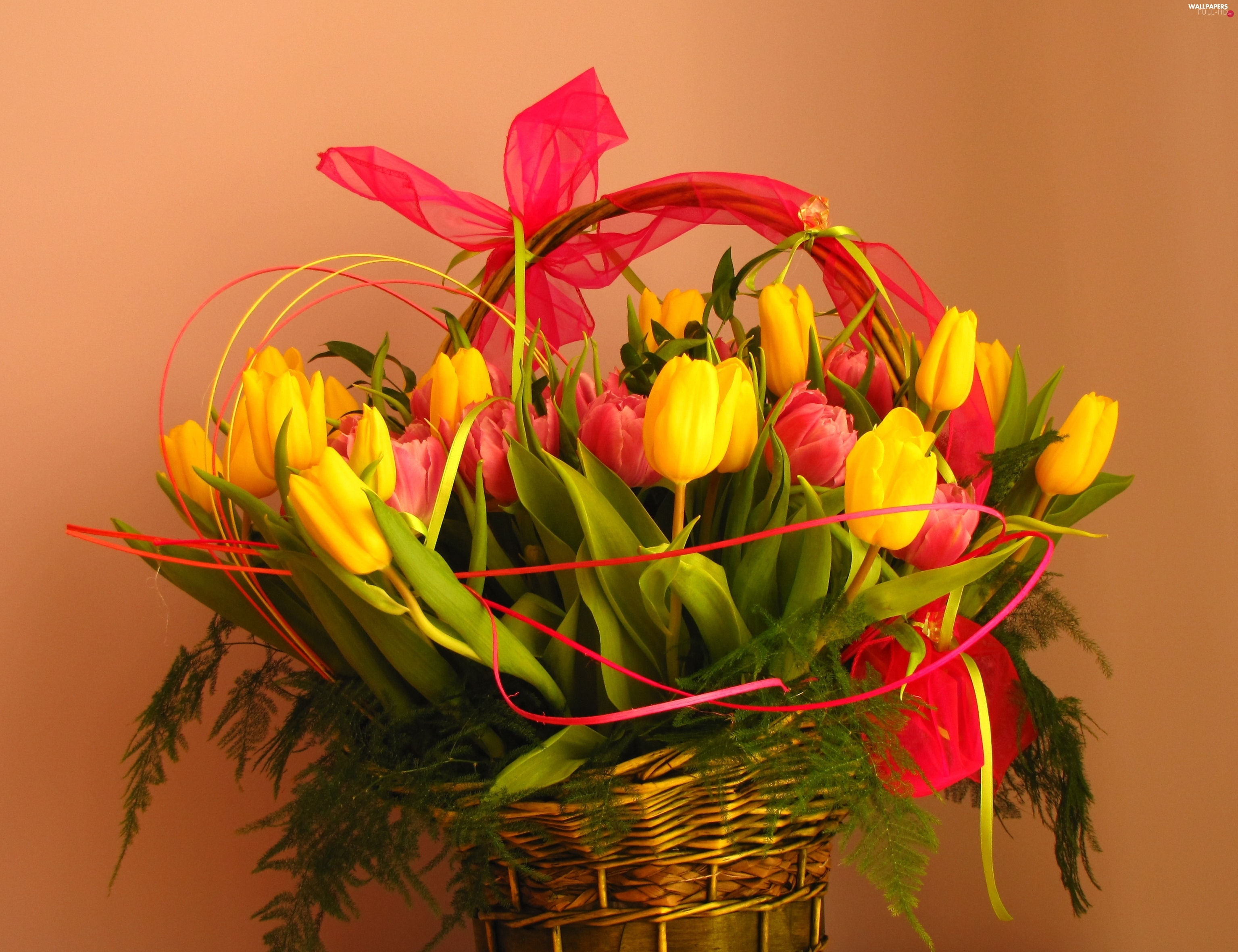 tulips, basket, bouquet
