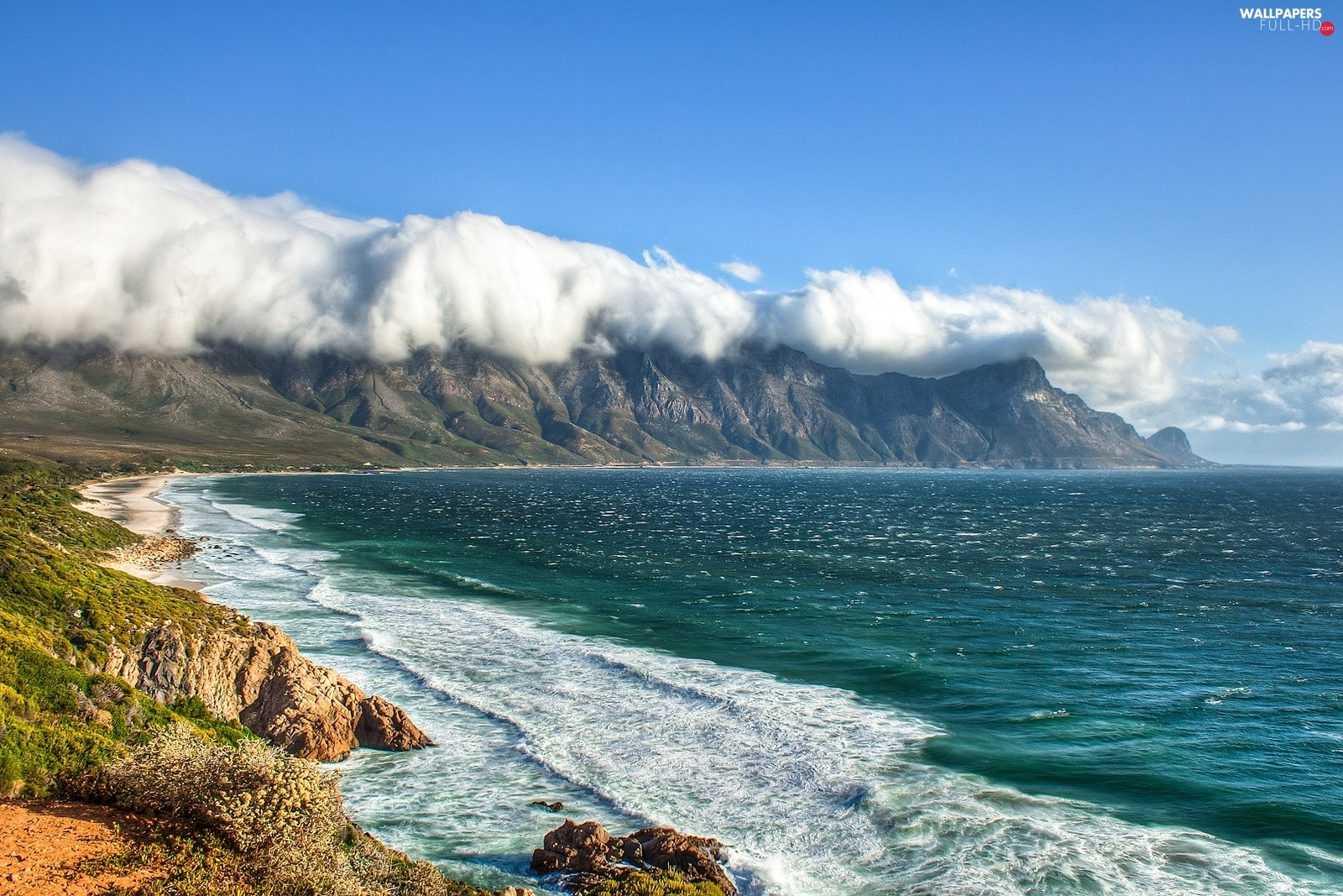 Kogel Bay, clouds, sea, South Africa, Mountains