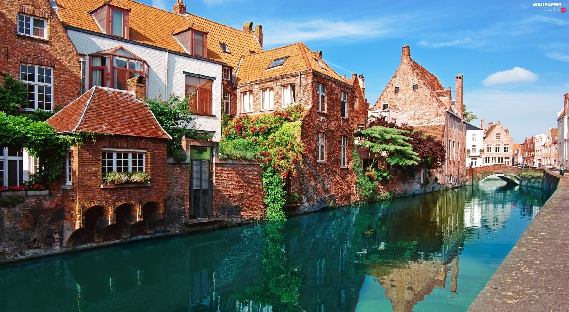 Belgium, Bruges, Houses, canal