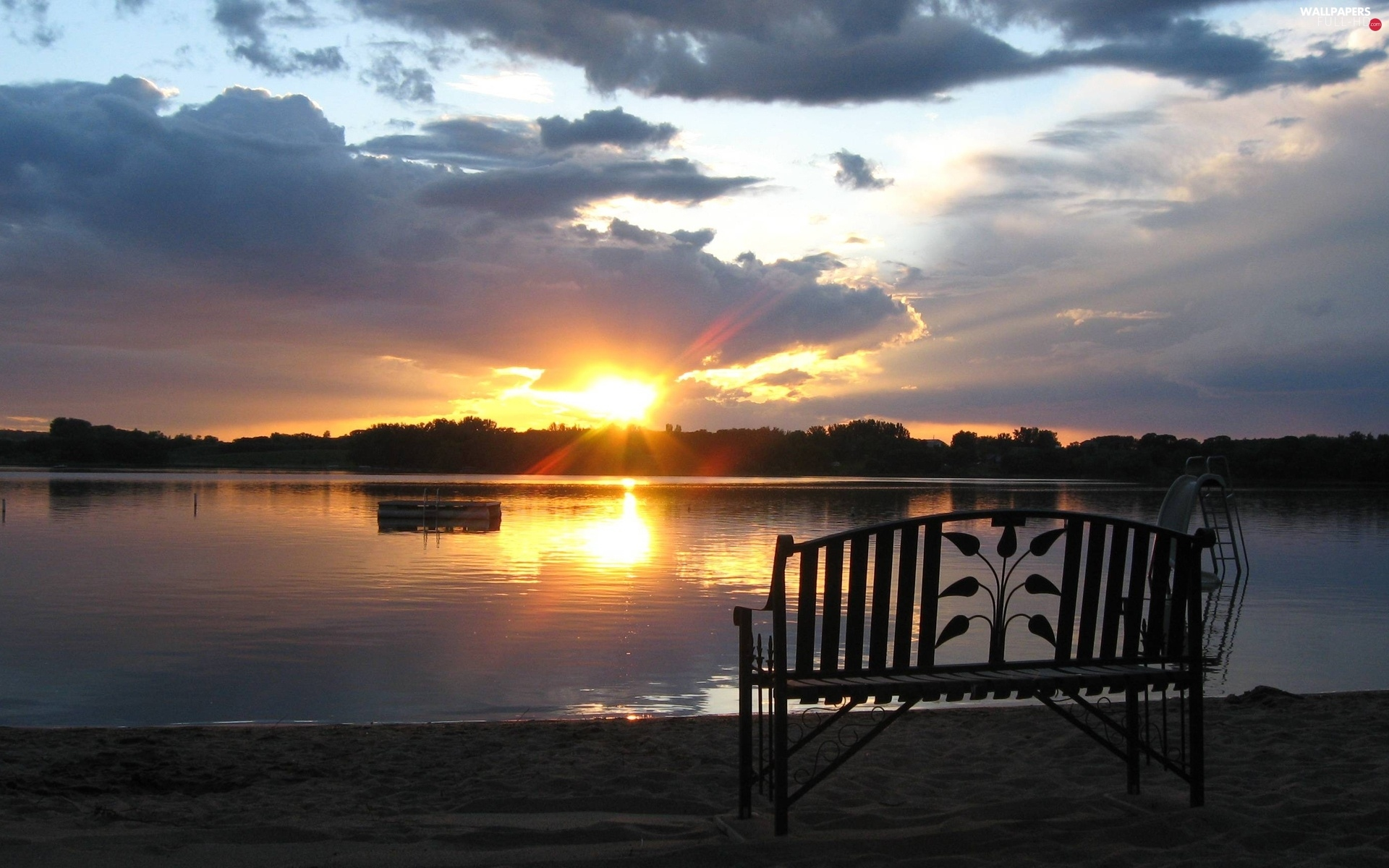 Bench, sun, lake, west
