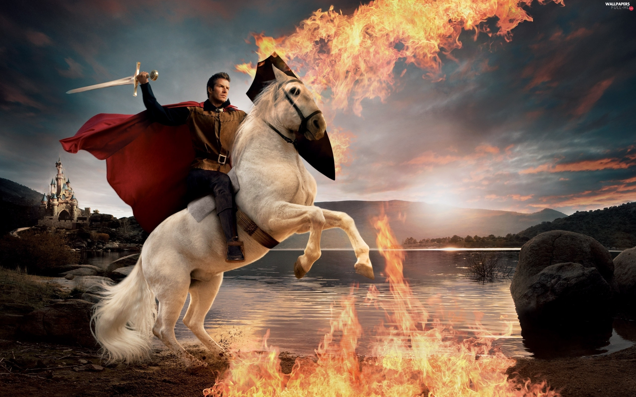 Big Fire, sword, a man, Horse