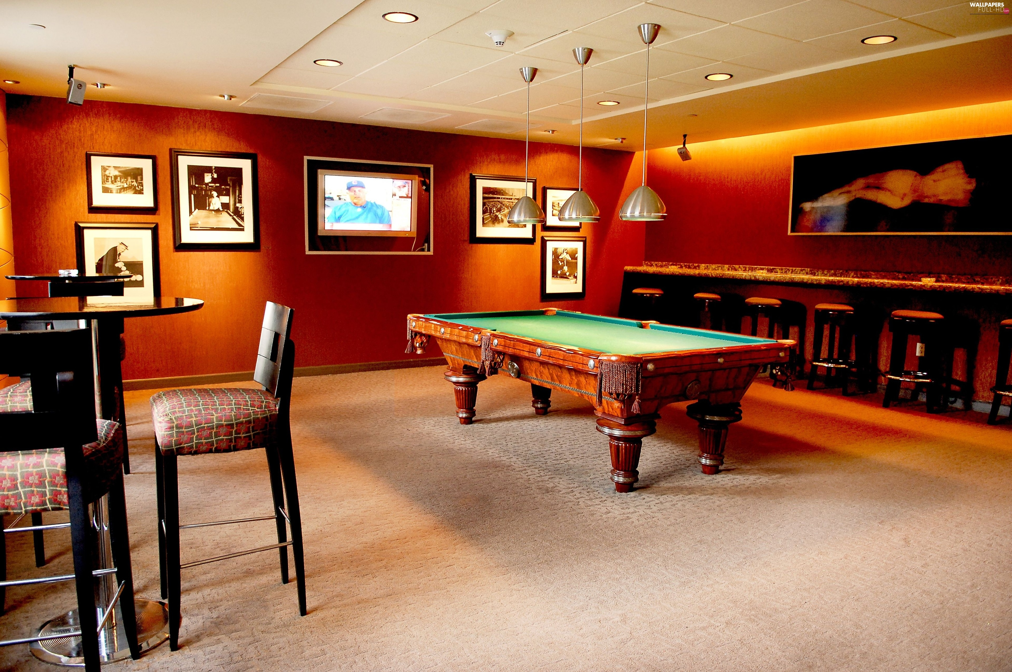room, billiards, inside