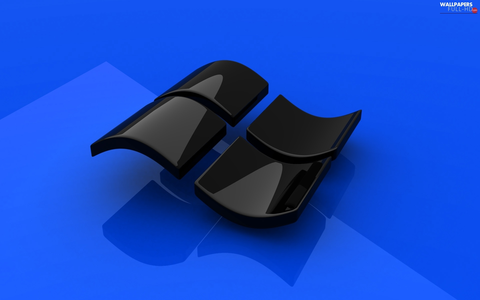 Black, blue background, Logo Windows 8
