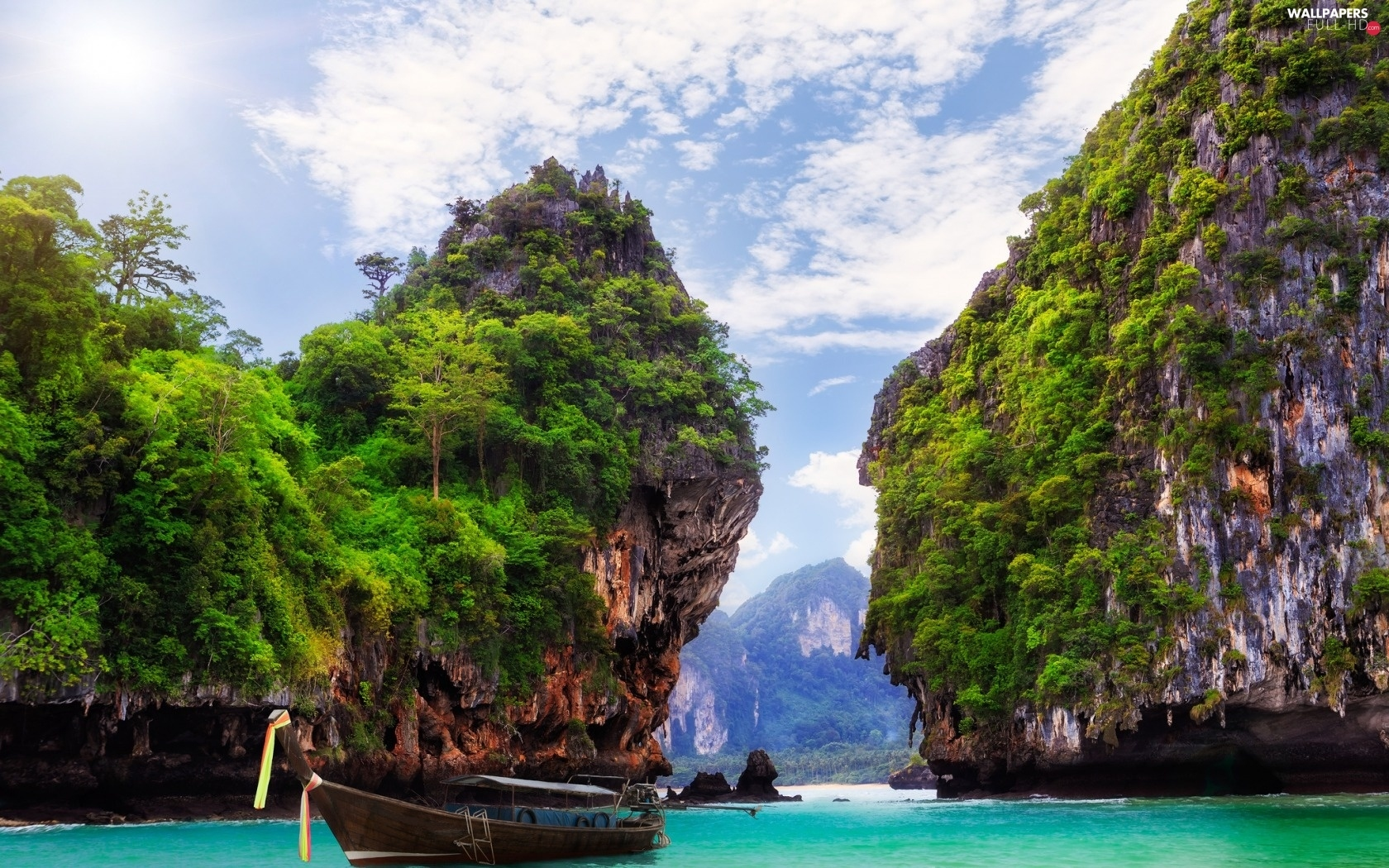 Boat, sea, Thailand, Mountains