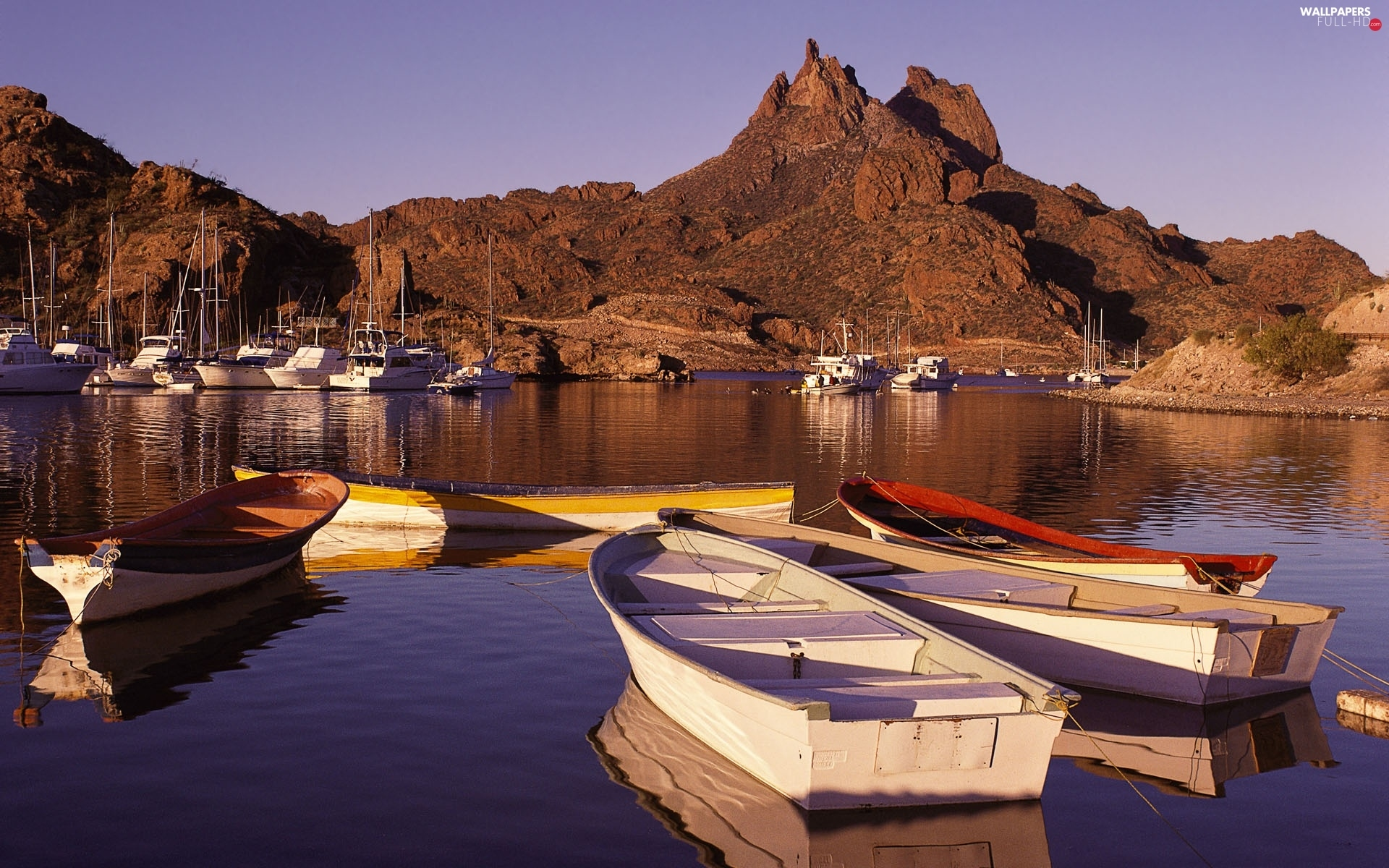 Boats, Gulf, Harbor, mountains, Mexico