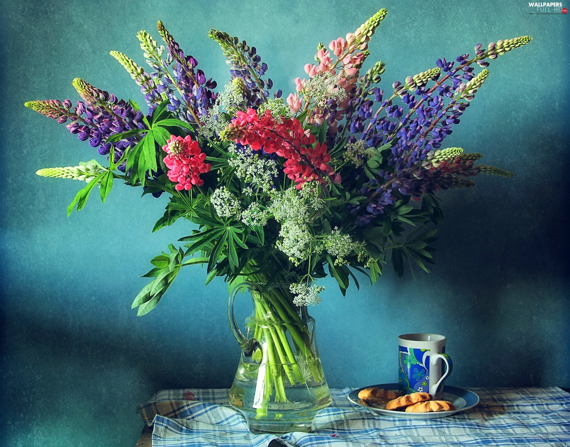 lupine, bowl, Flowers