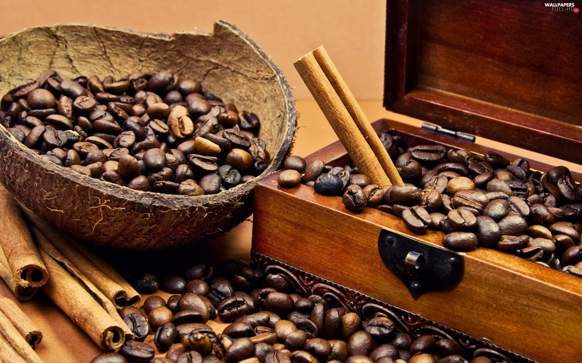 box, wood, grains, cinnamon, coffee