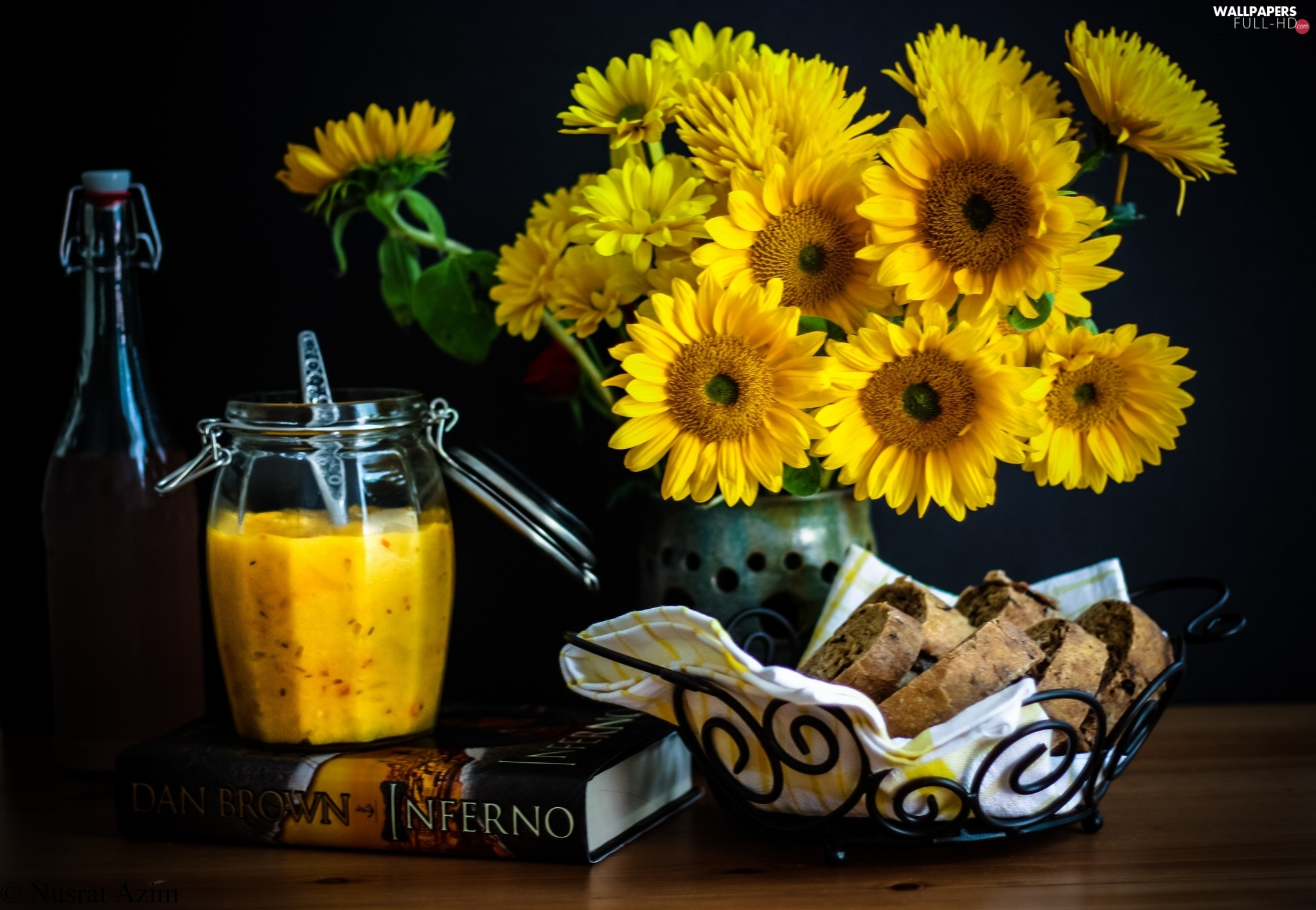 bread, Jam, Flowers, sunflowers