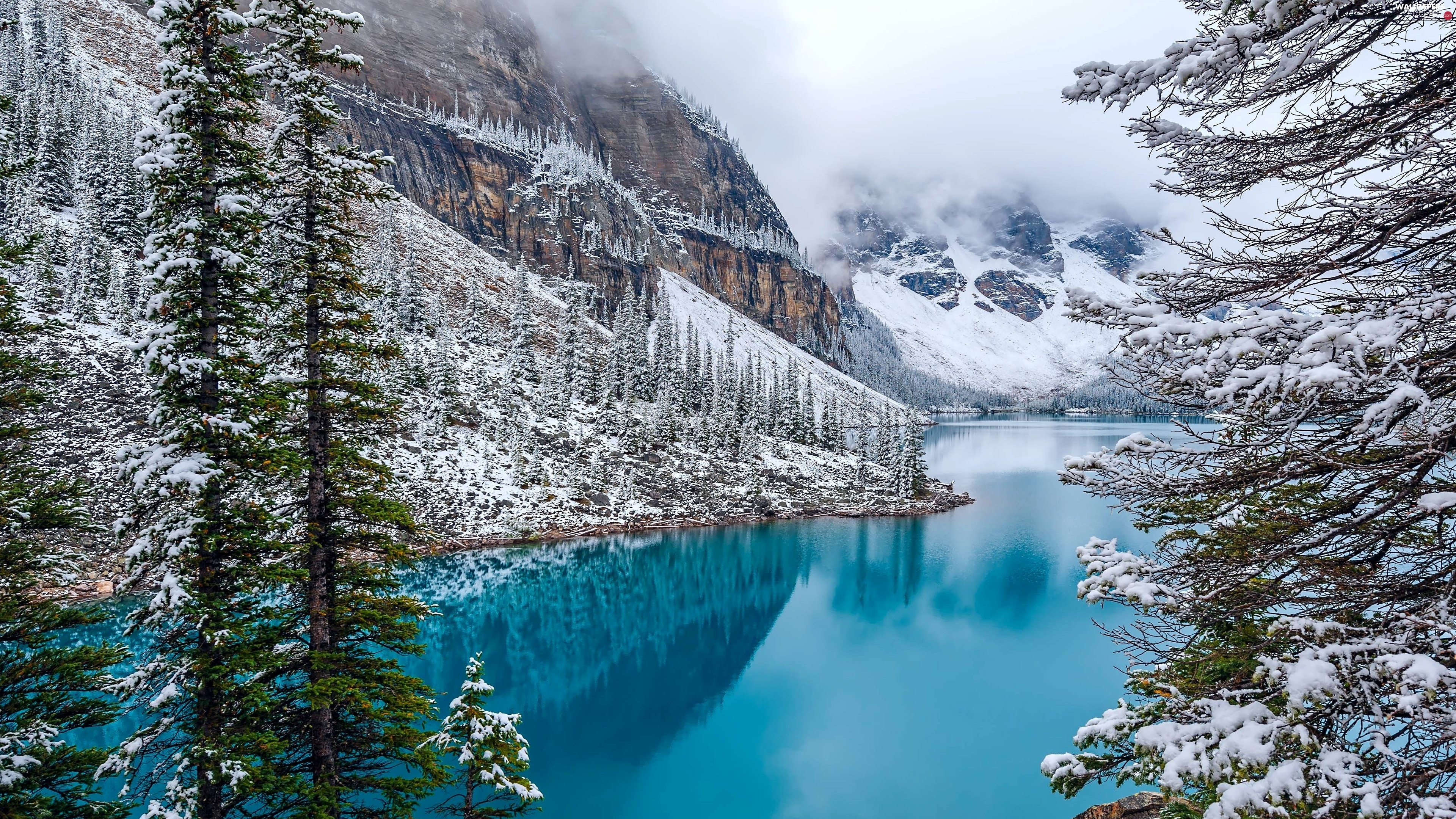 winter, Canada, forest, Fog, lake, Moraine, Mountains, Lake
