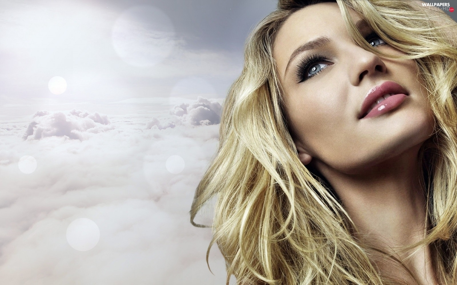 Candice Swanepoel, clouds, dreamy