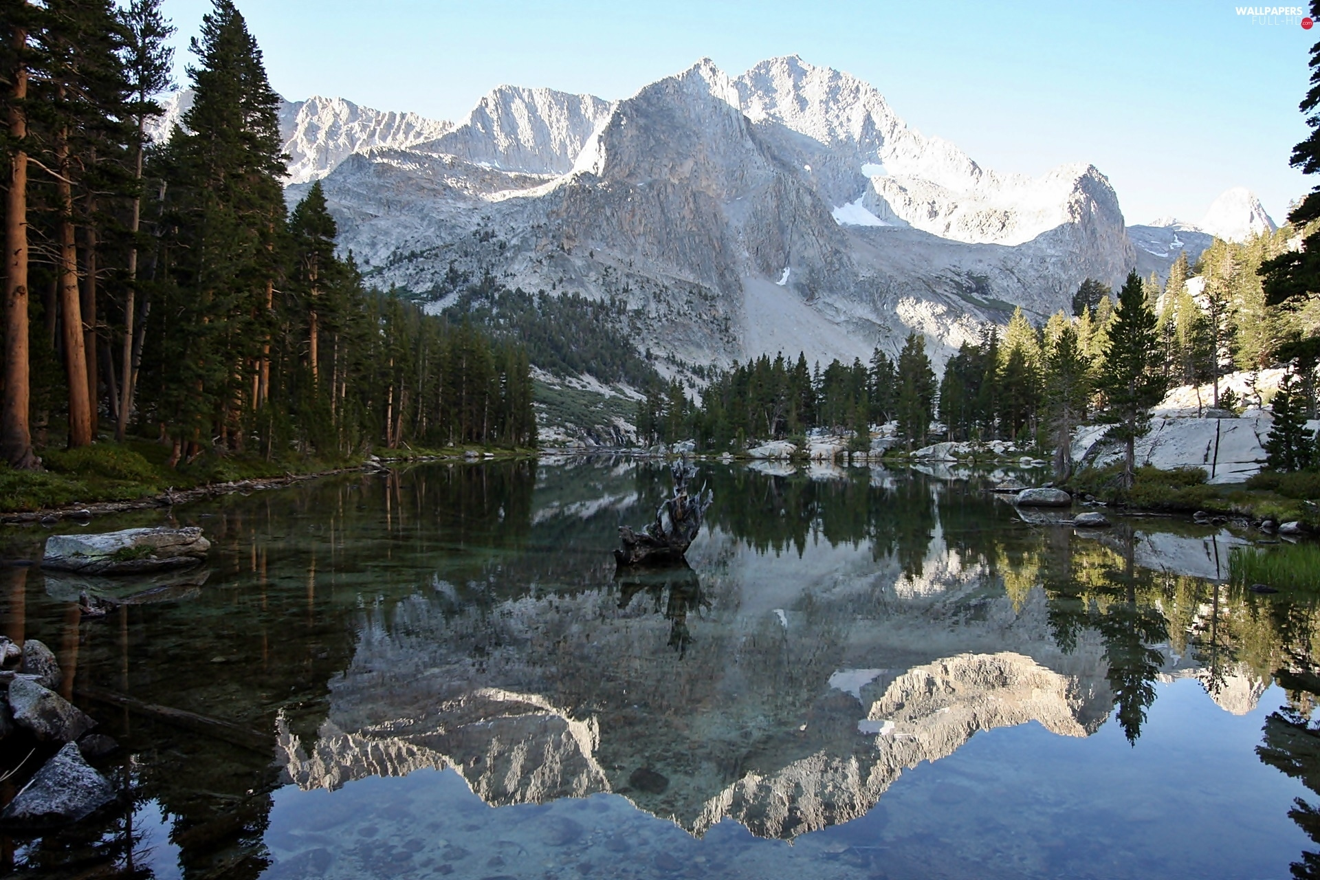 forest, Canyon, lake, Mountains, Park, national, reflection, Kings