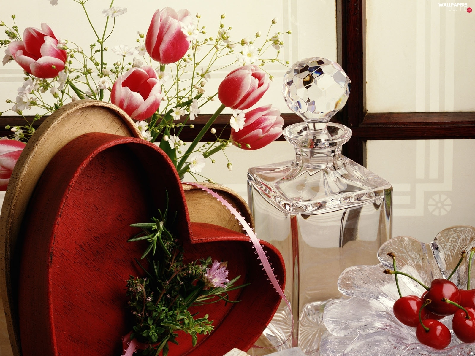 Flowers, carafe, Heart