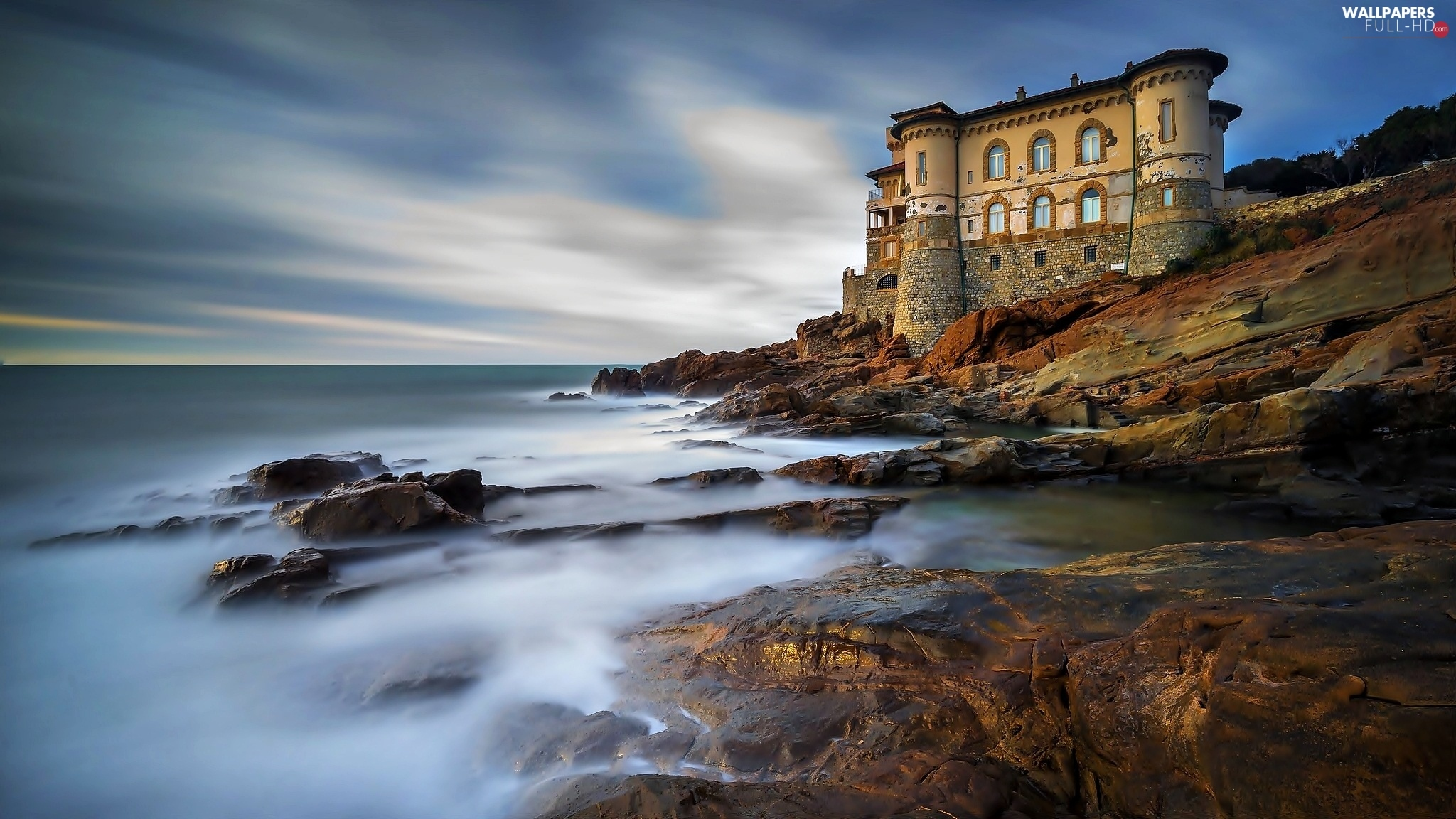 Castle, rocks, sea, Sky