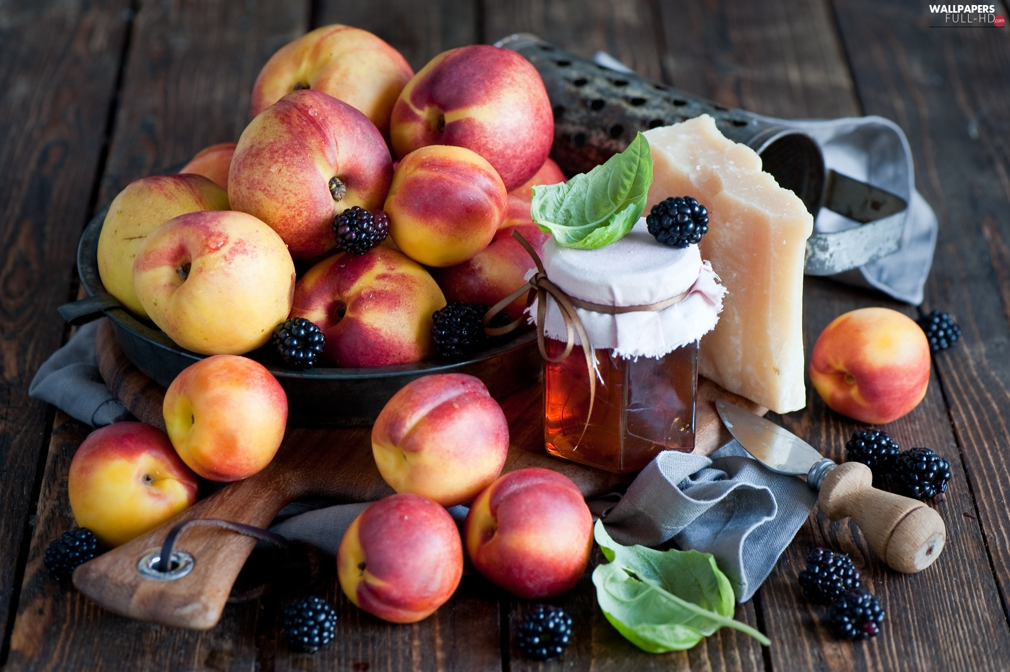 Honey, cheese, nectarines