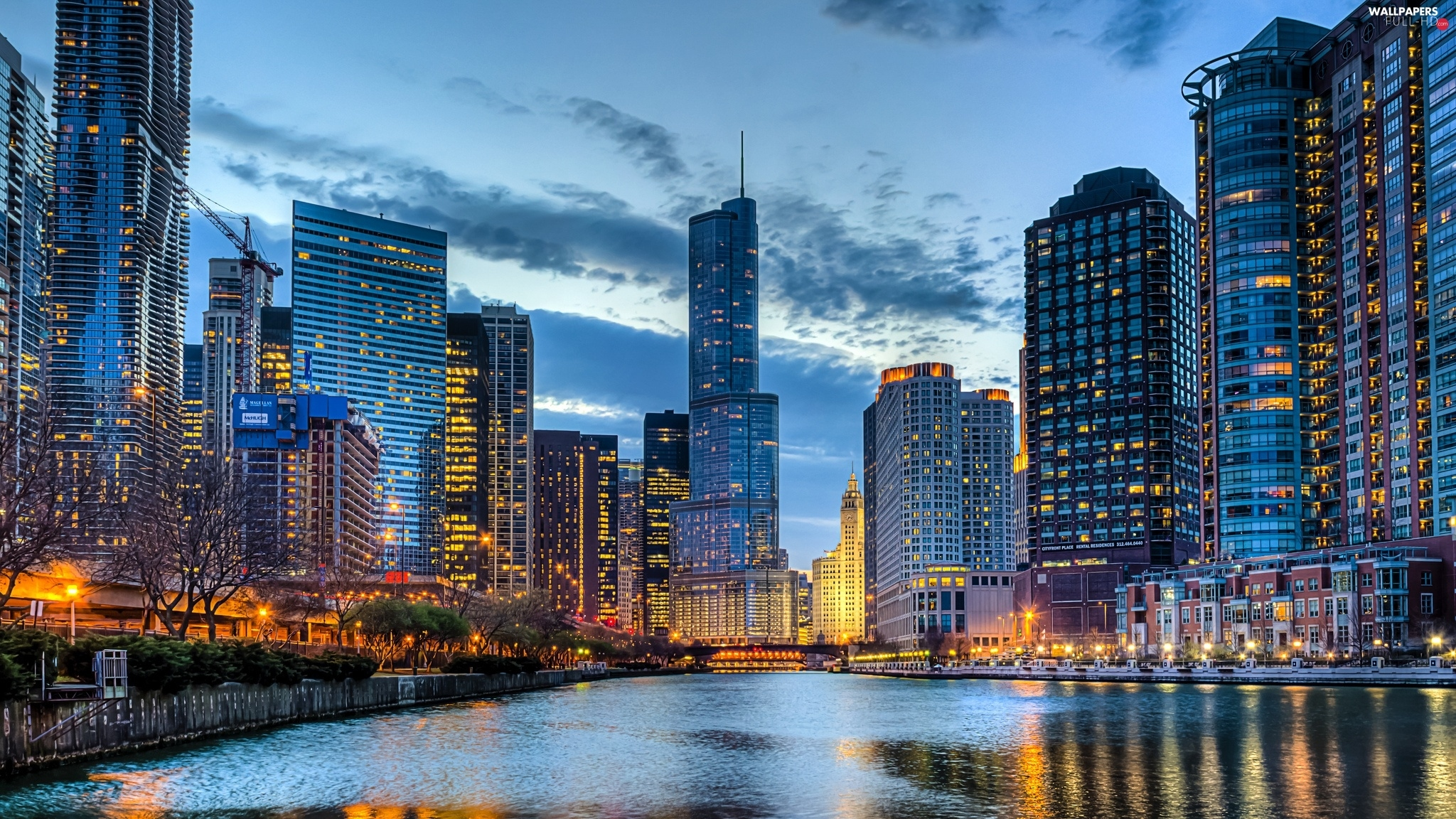 Chicago, clouds, River, USA, skyscrapers