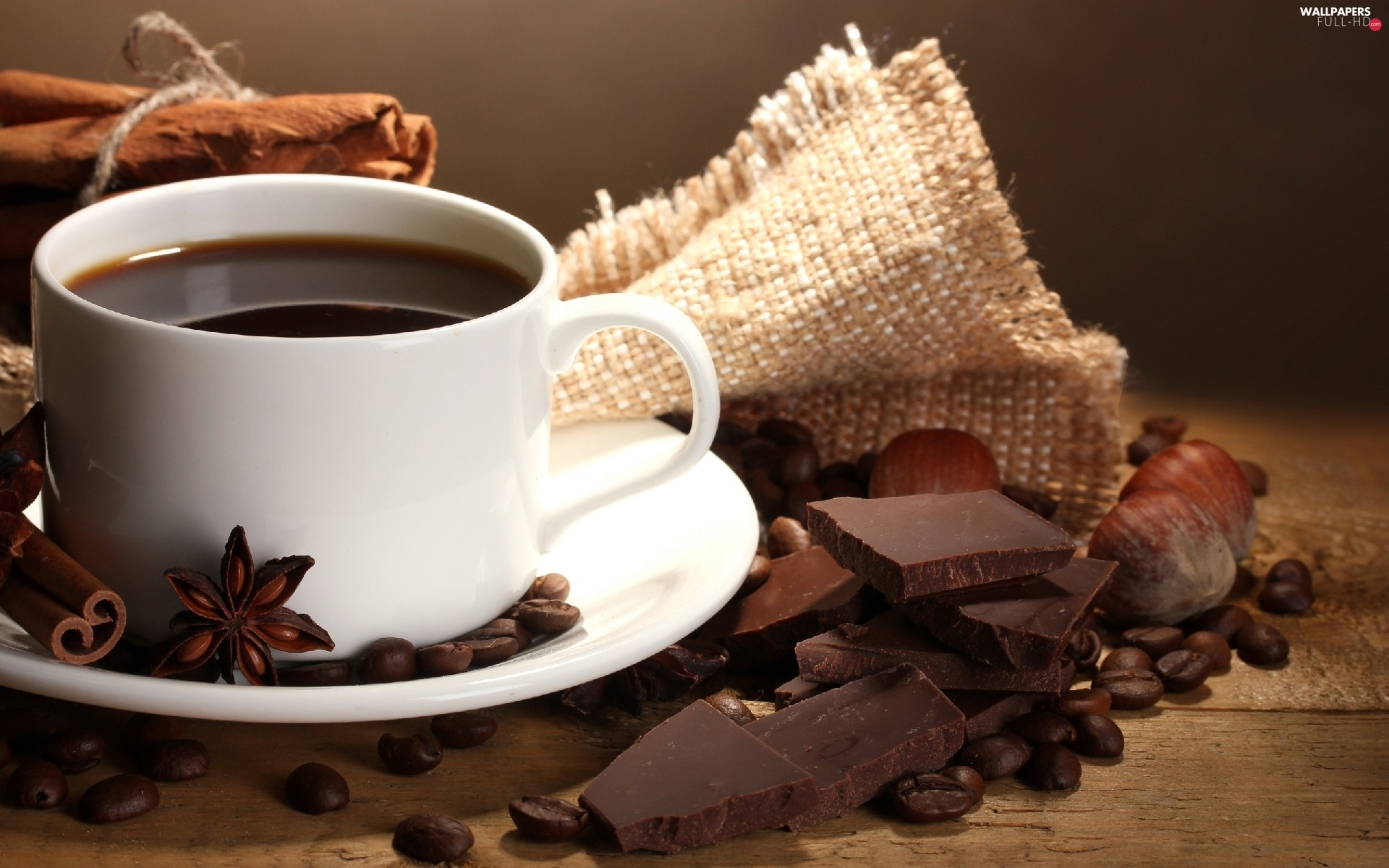 chocolate, grains, cup, coffee