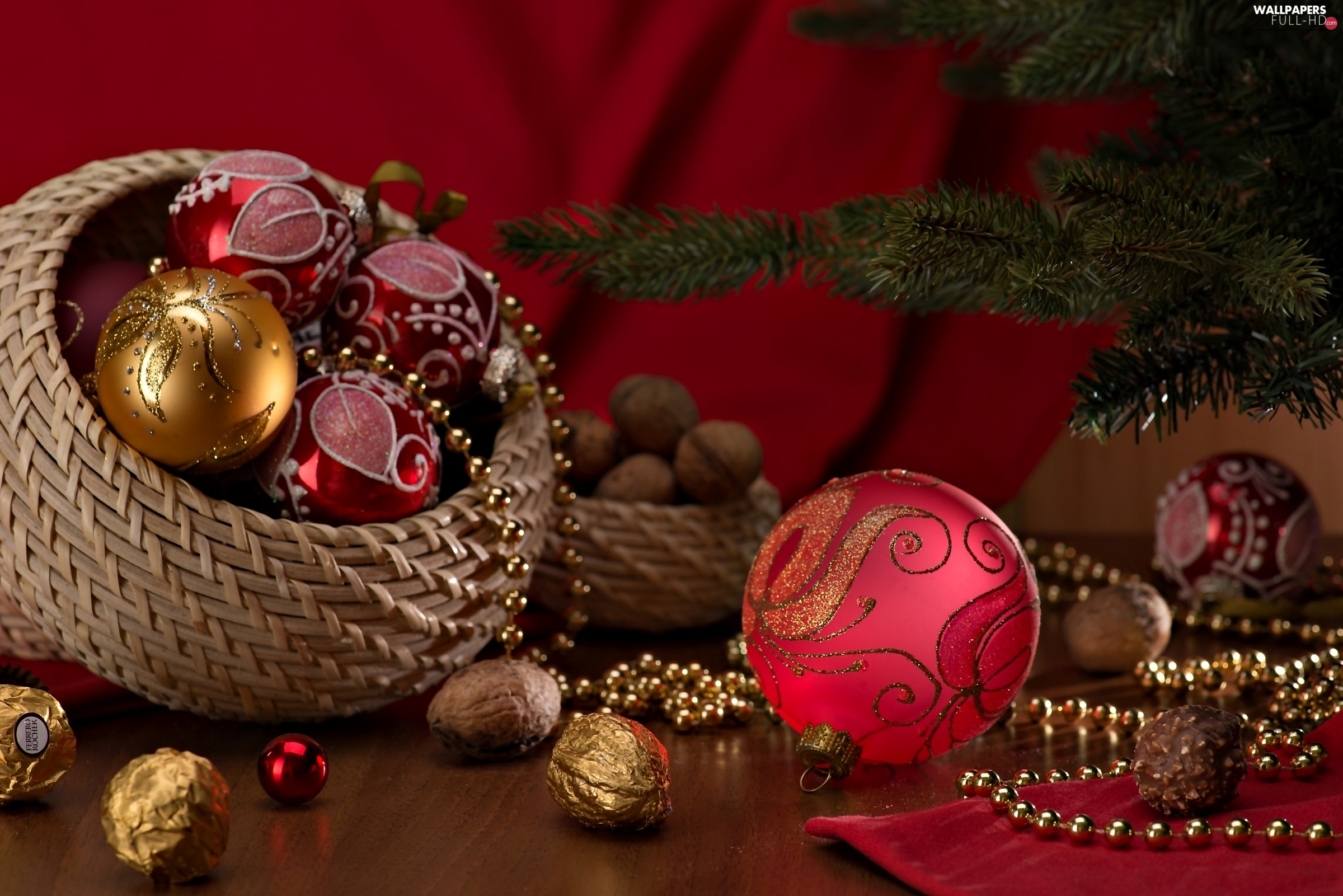 christmas, christmas tree, basket, baubles