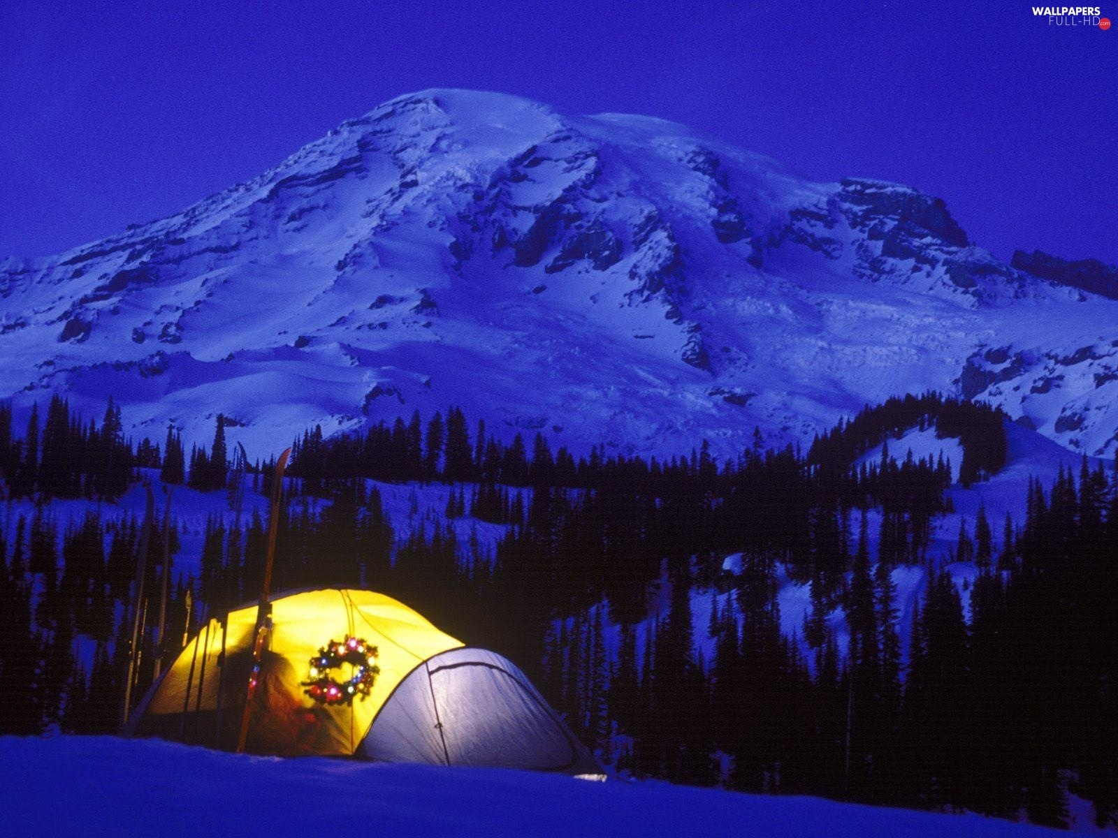 christmas, Tent, Mountains, Night