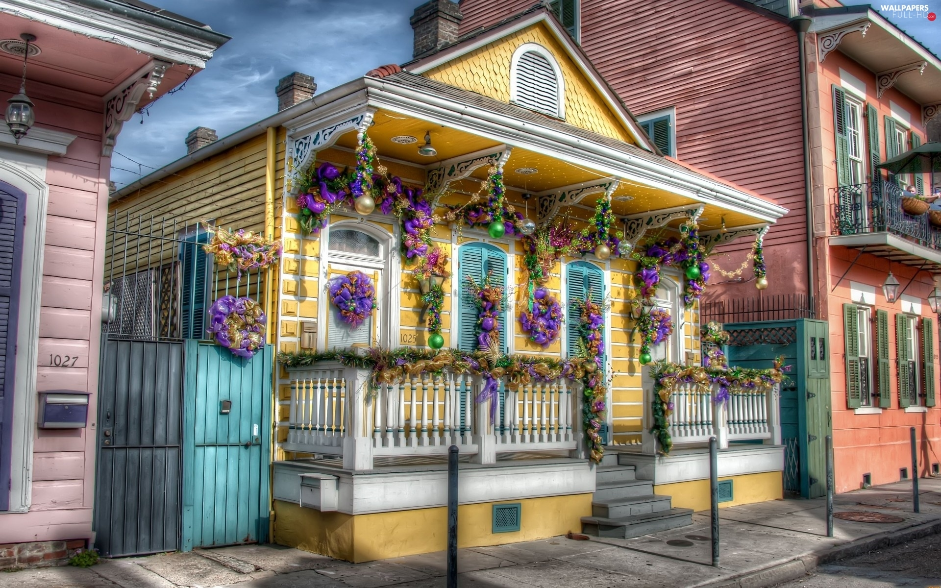 Christmas, decor, Yellow, New Orleans, Home