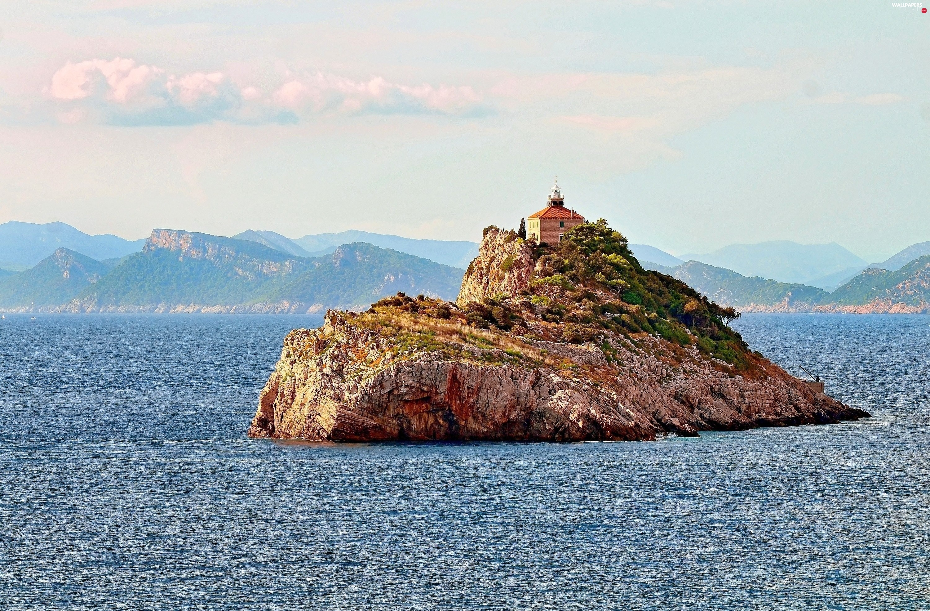 Church, Islet, Mountains, sea