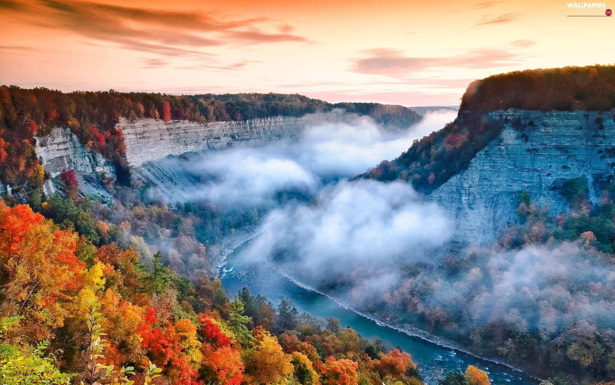 Cliffs, Fog, forest, River