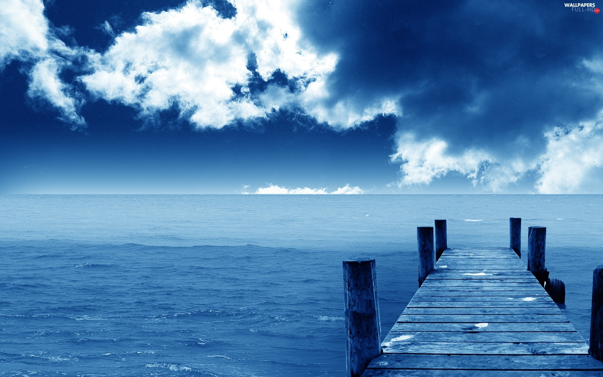 pier, clouds, sea