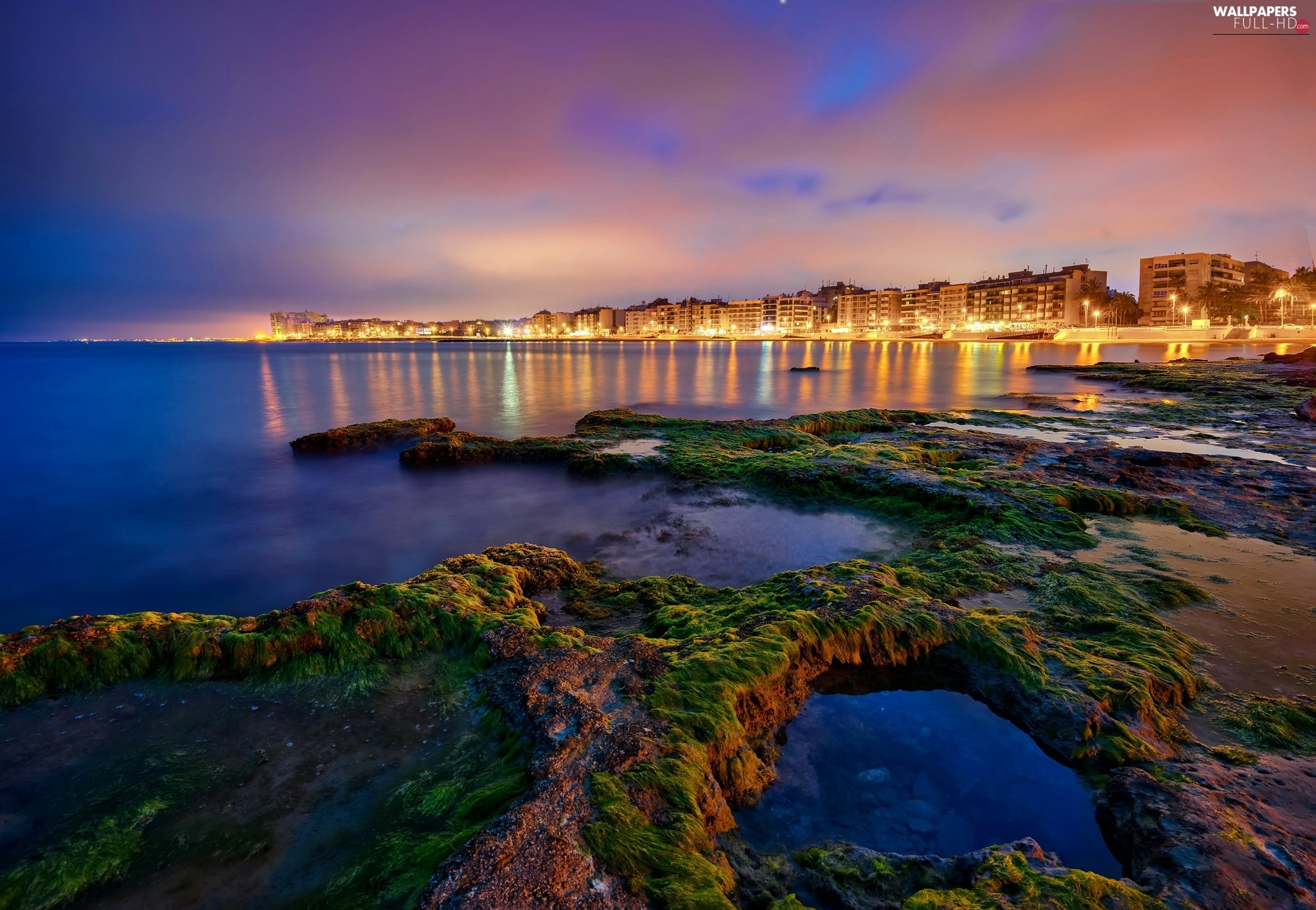 Coast, Night, Spain, Town