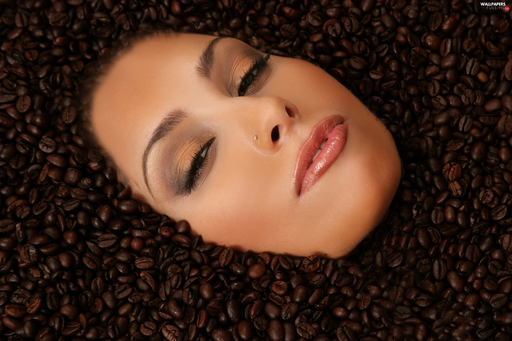 coffee, grains, woman, face