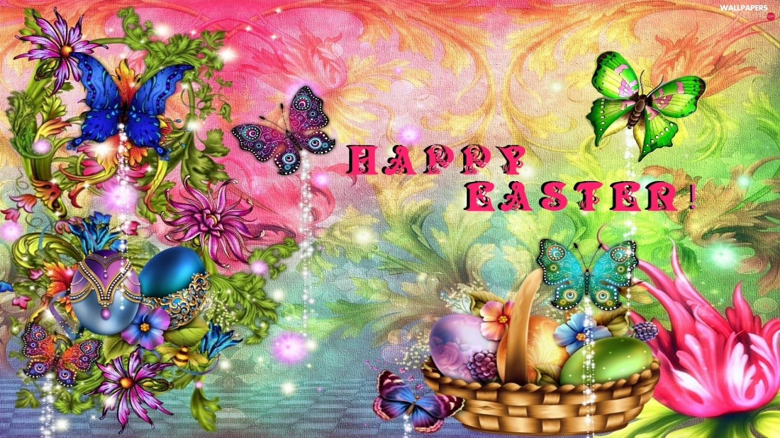 Flowers, color, basket, Easter, butterflies, color, eggs