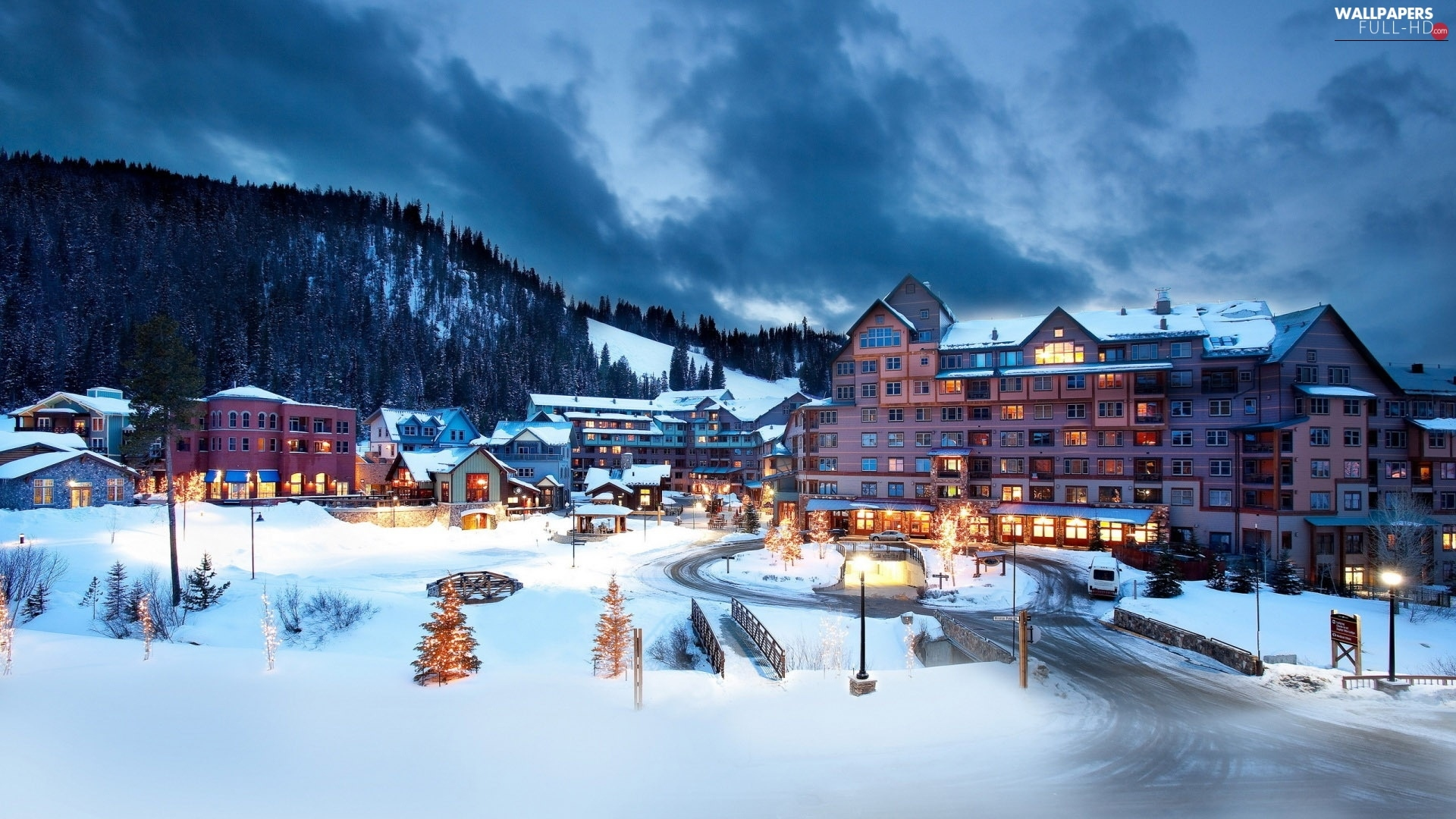 Hotels, Colorado, center, The United States, winter