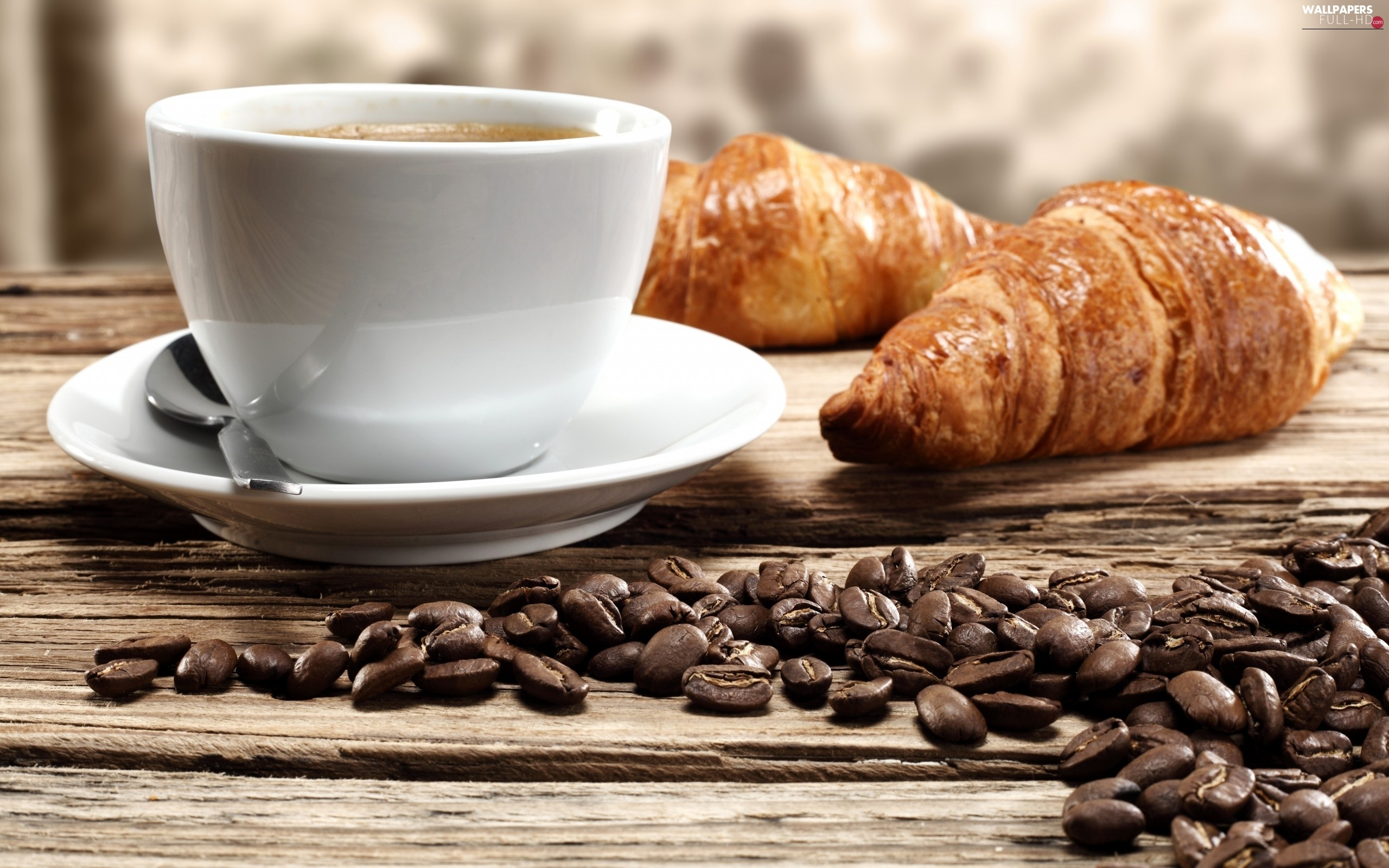 Cup, croissants, coffee, grains