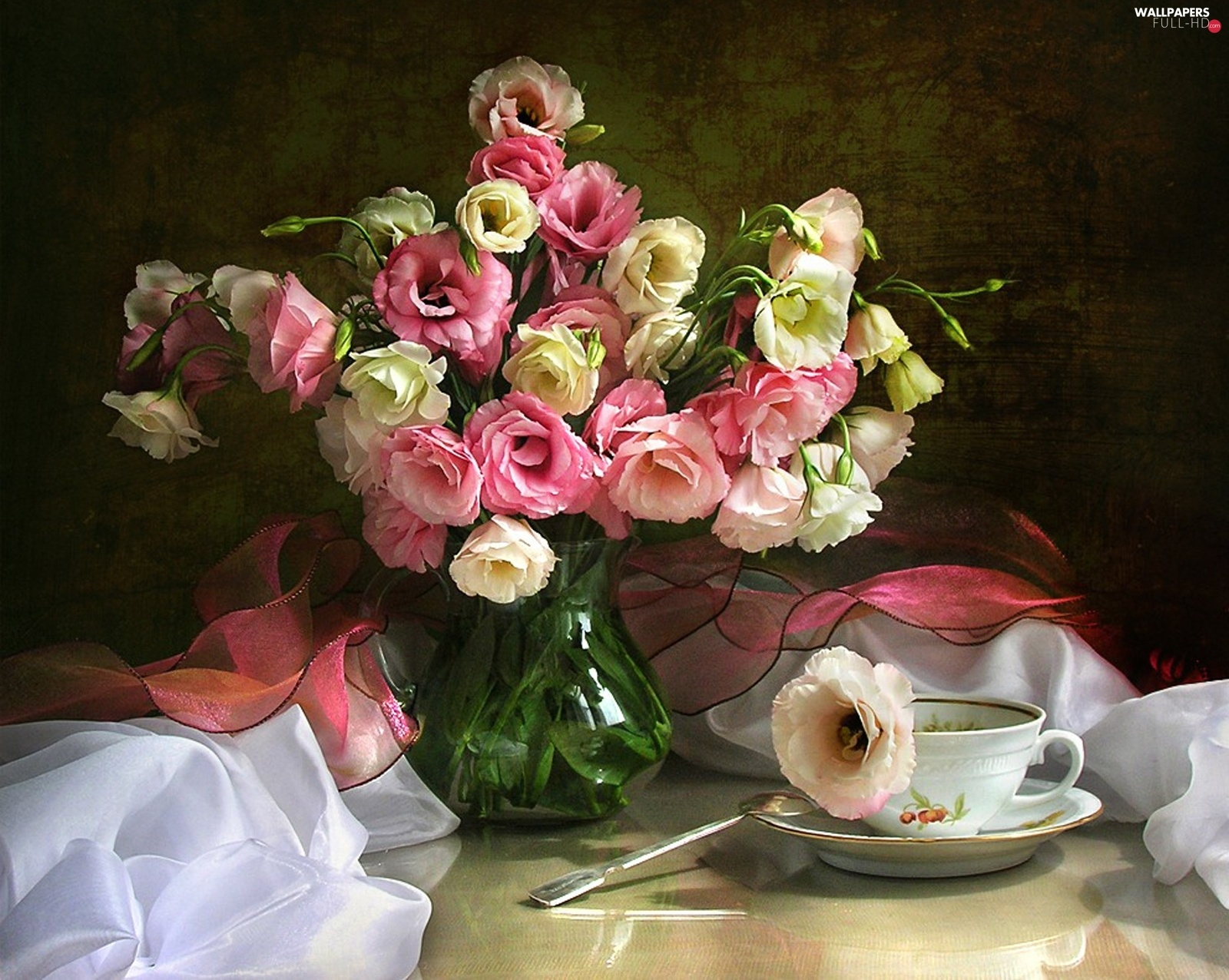 cup, Eustoma, Flowers, bouquet