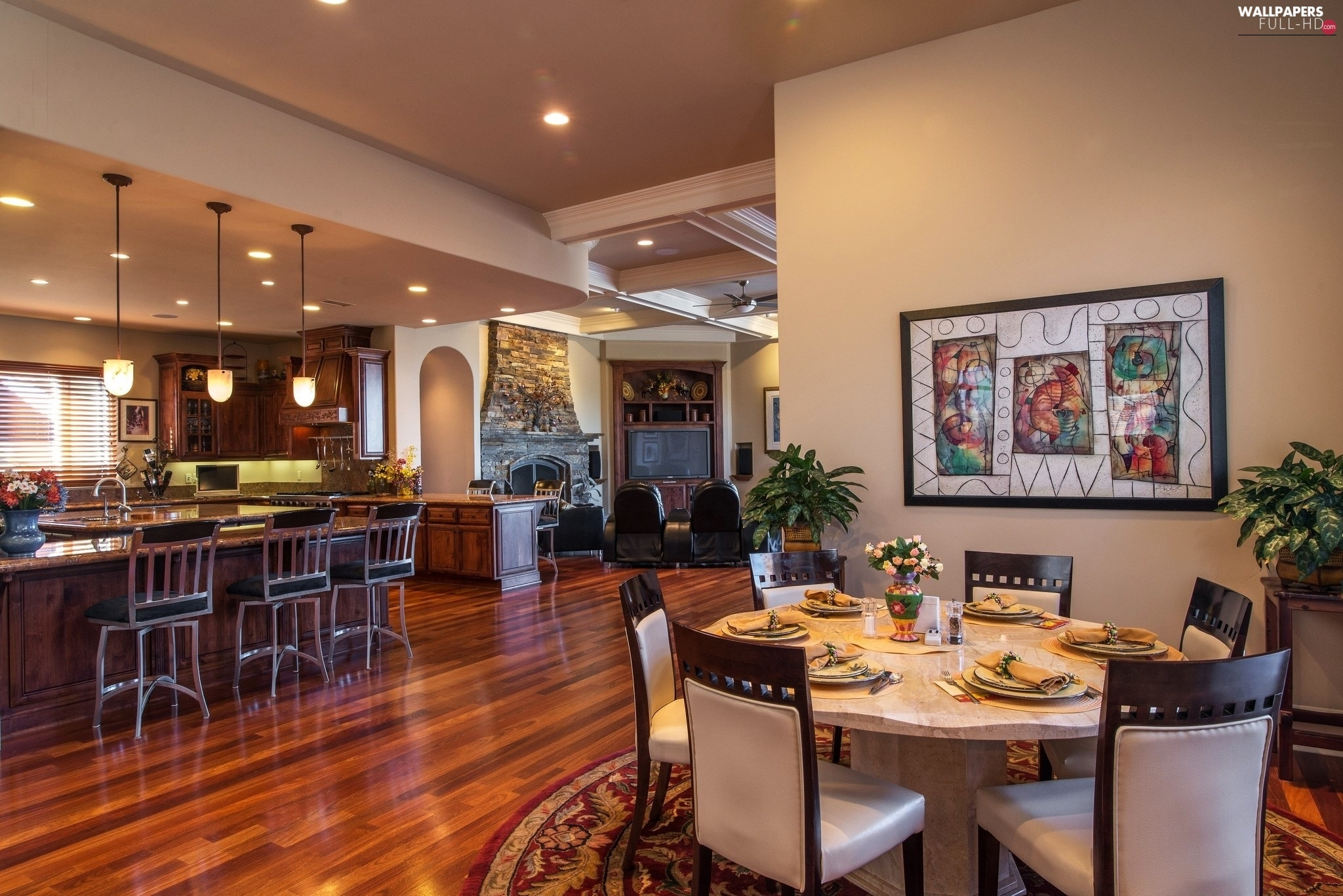 Dining room saloon house kitchen interior full hd for Kitchen dining room wallpaper