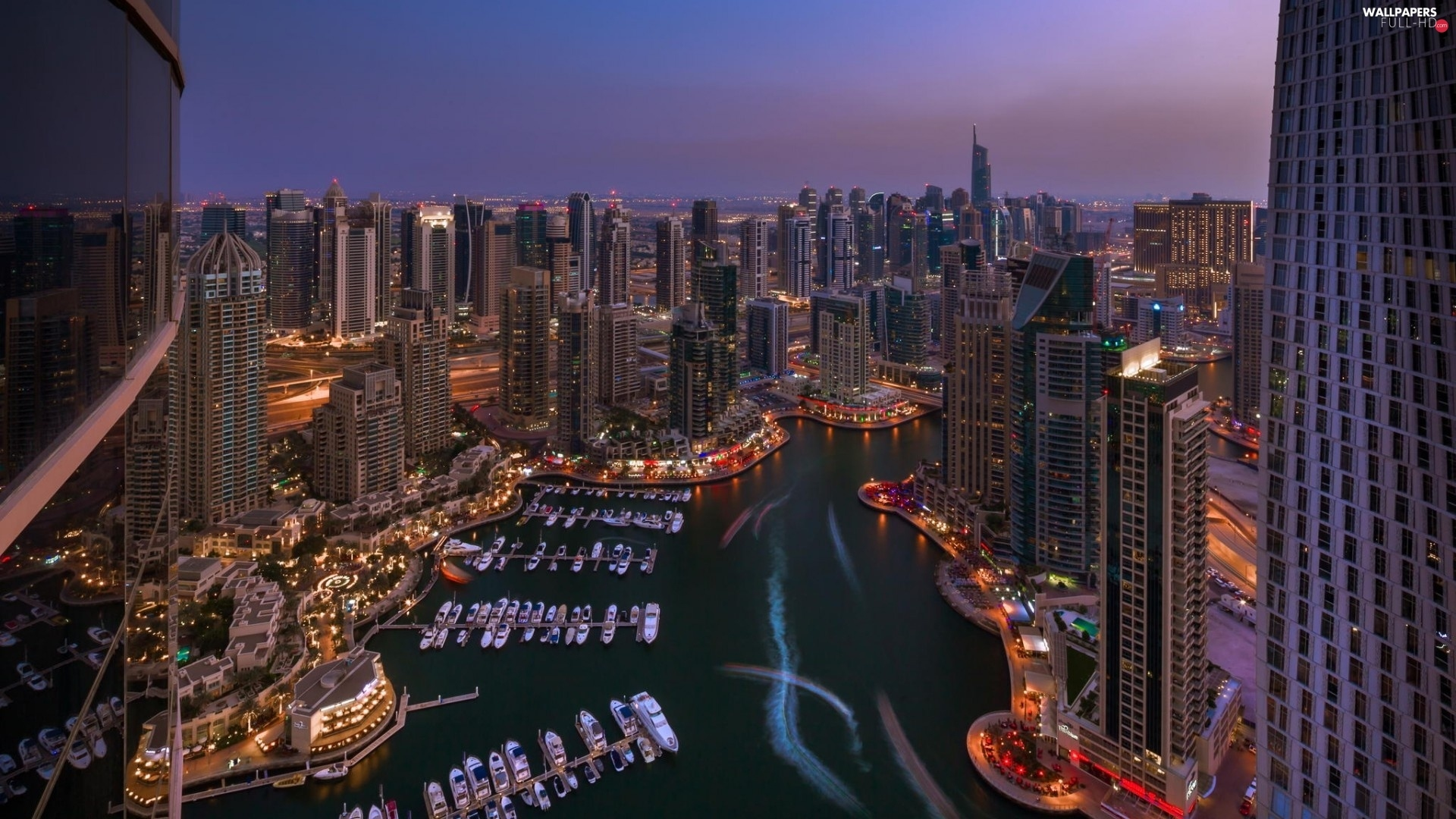 Dubaj, Boats, skyscrapers, night, clouds