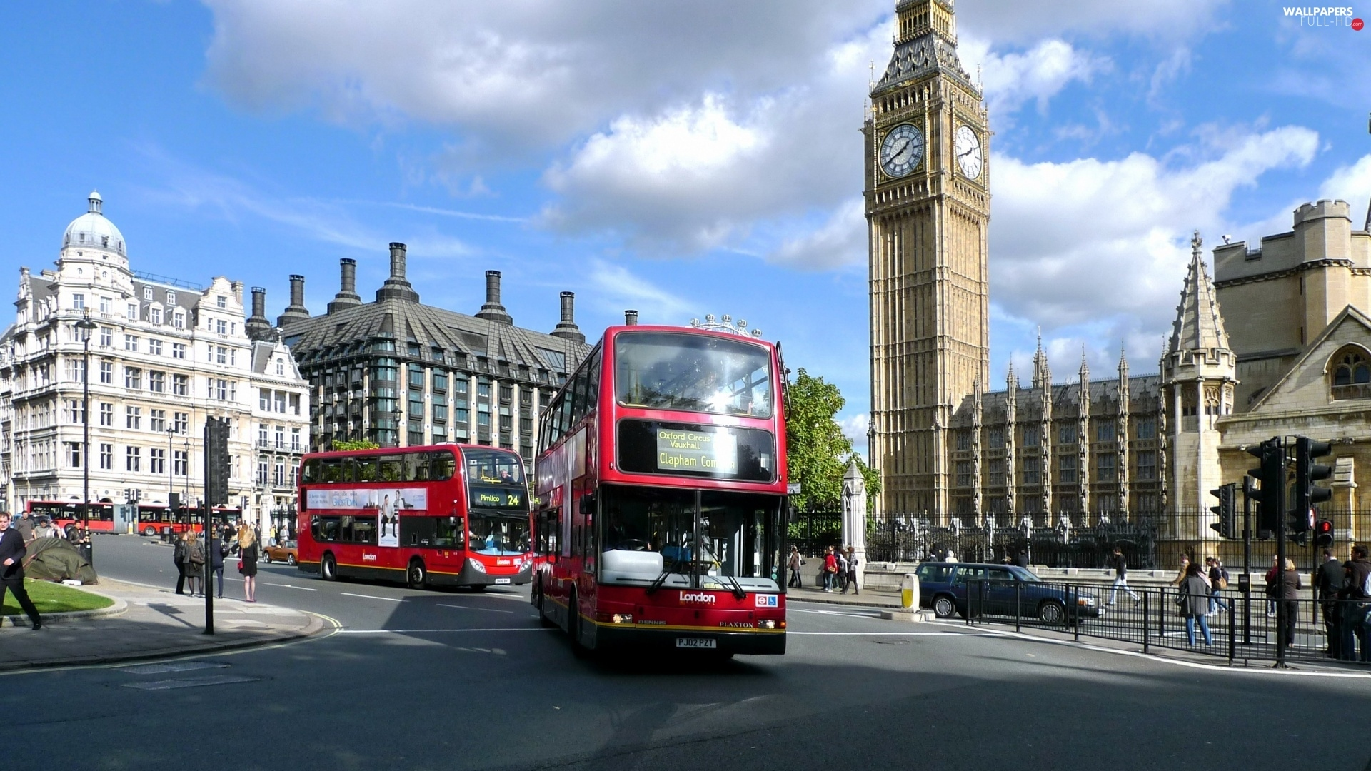 England London Street Buses Full Hd Wallpapers 1920x1080