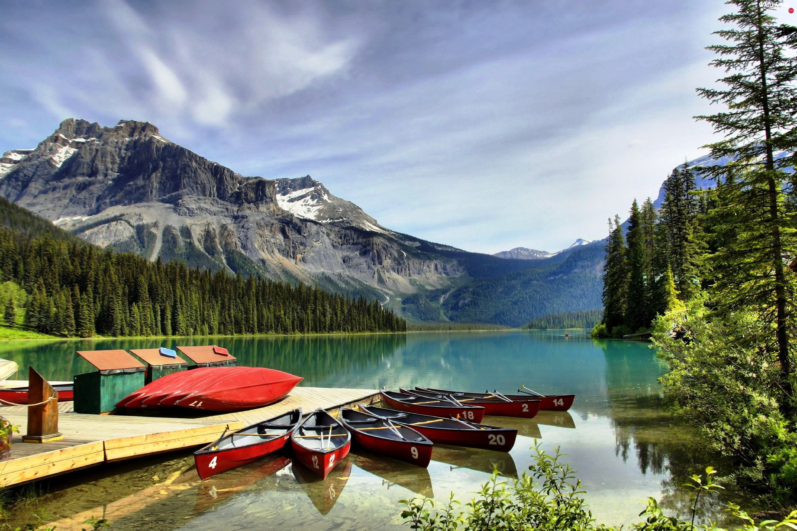 esmerald, lake, Mountains, Kayaks, Canada, Platform