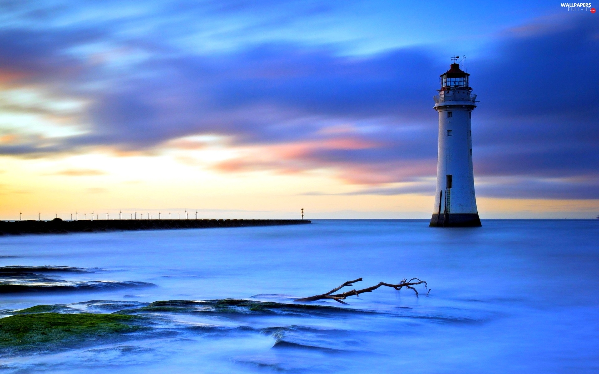 sea, evening, Lighthouses