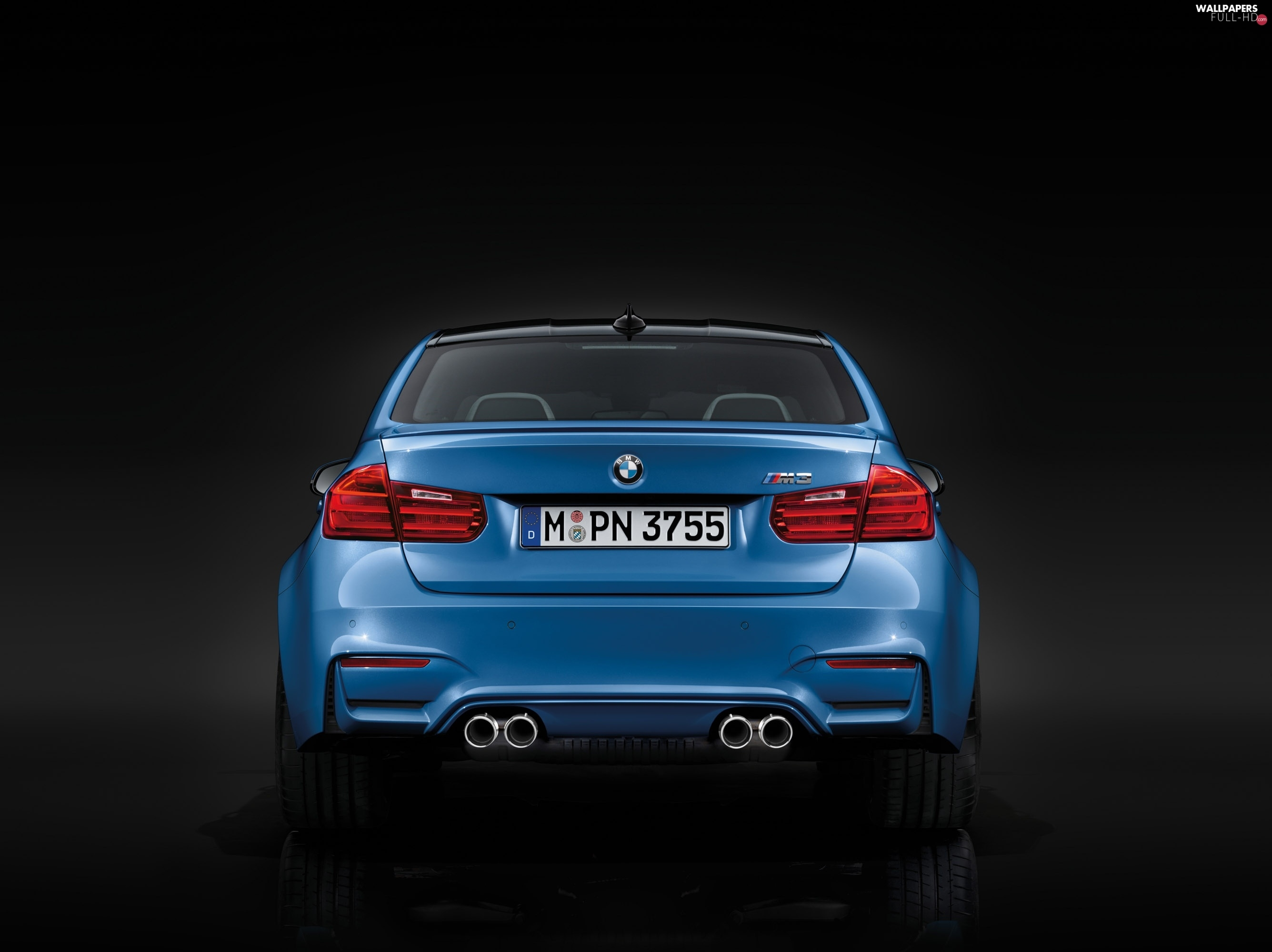 Exhaust Pipes, Back, Blue, BMW M3