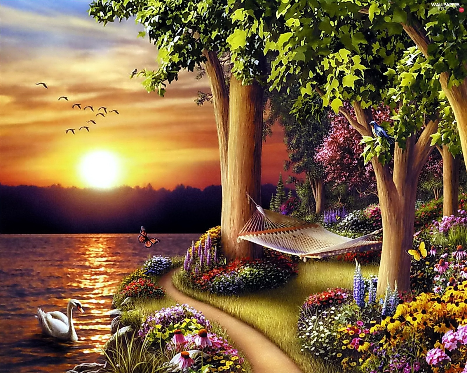Flowers, Hammock, trees, lake, viewes