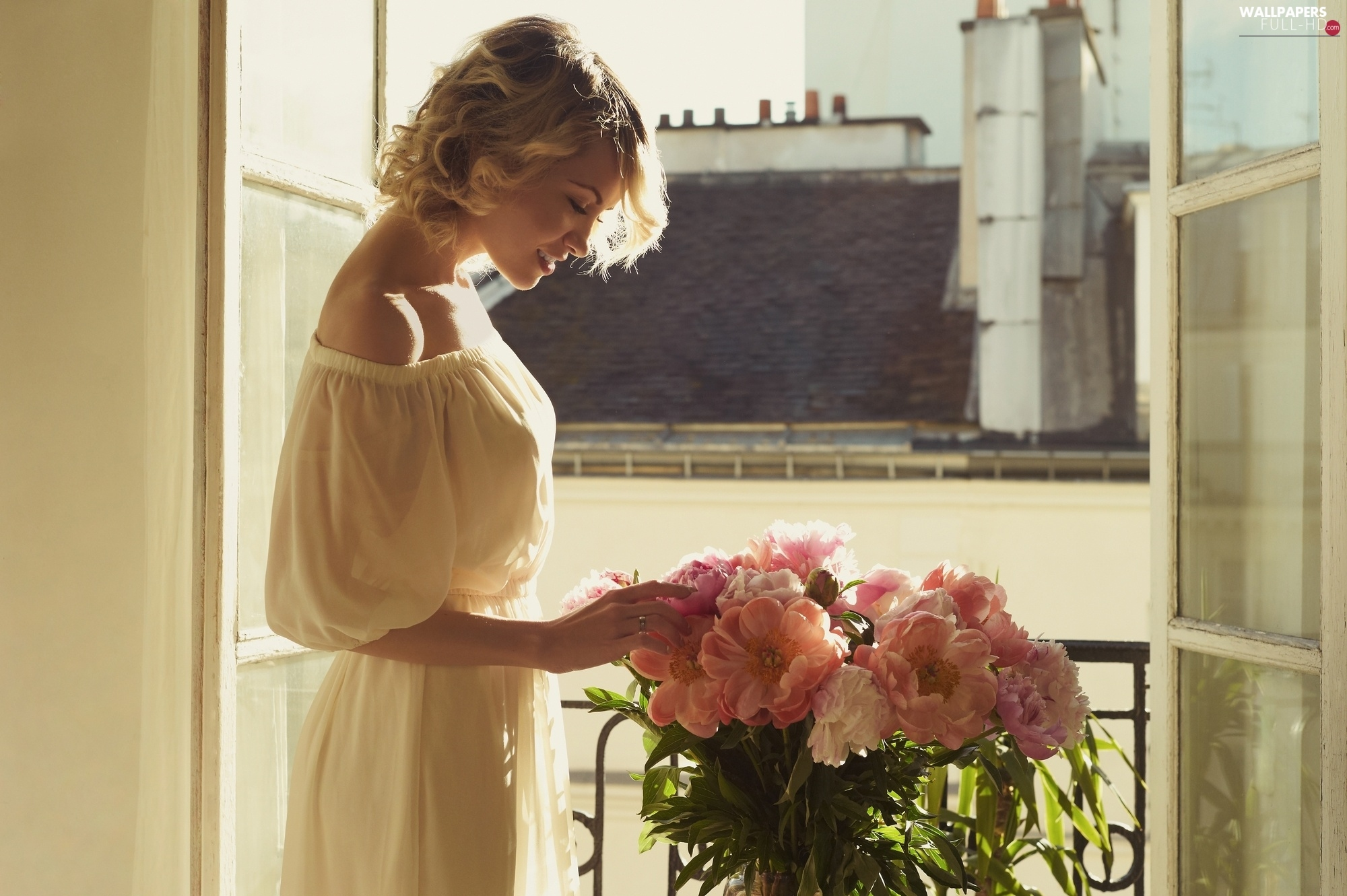 chimney, Flowers, Window, Women, the roof, Blonde, morning