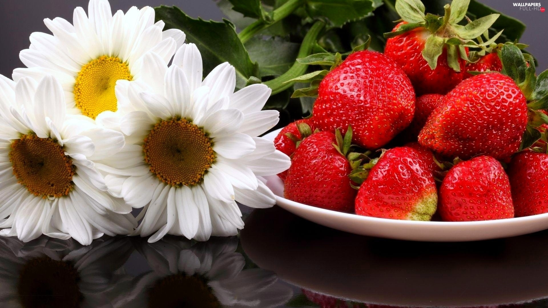 Flowers, strawberries