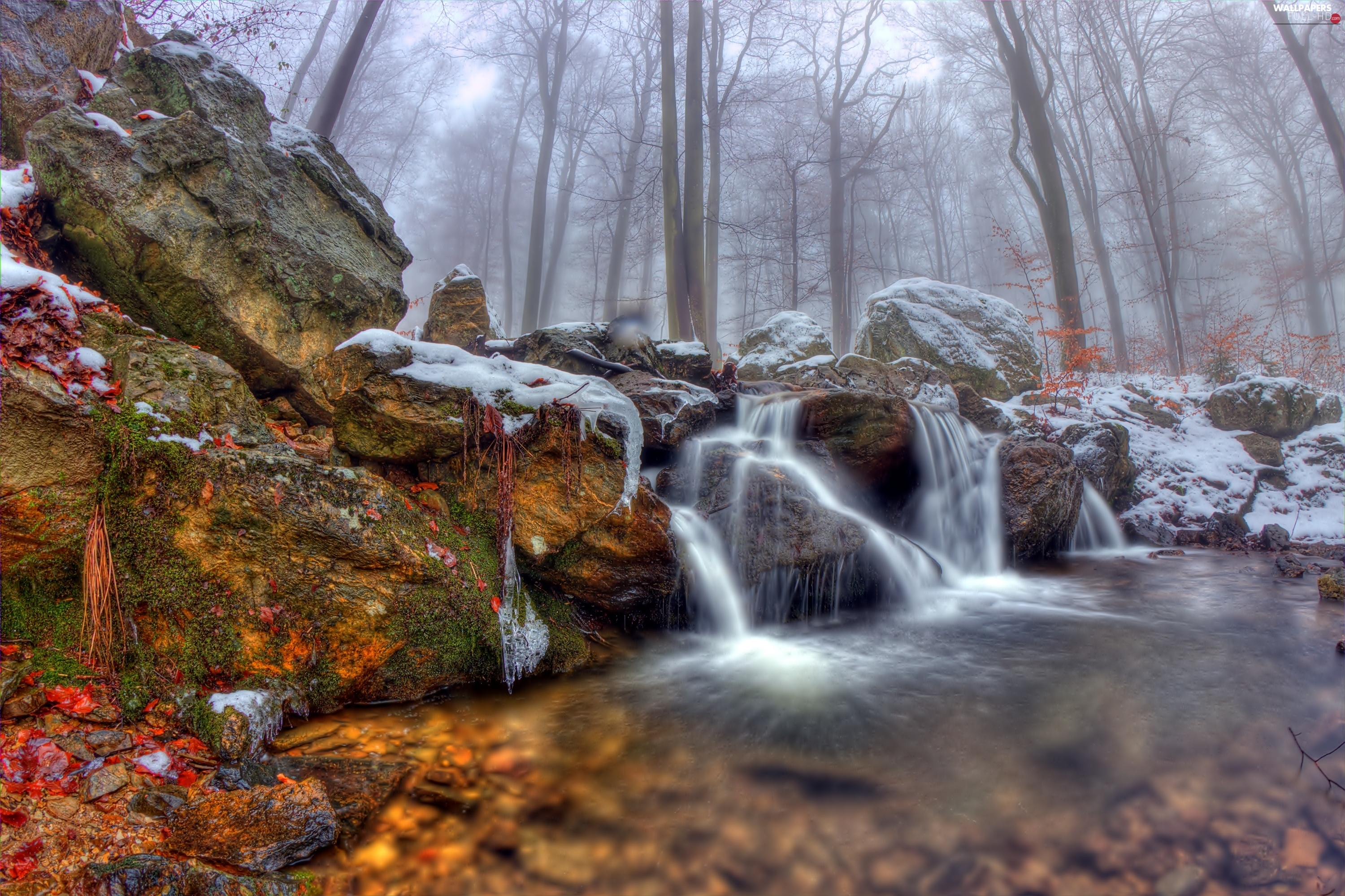 waterfall, Fog, rocks