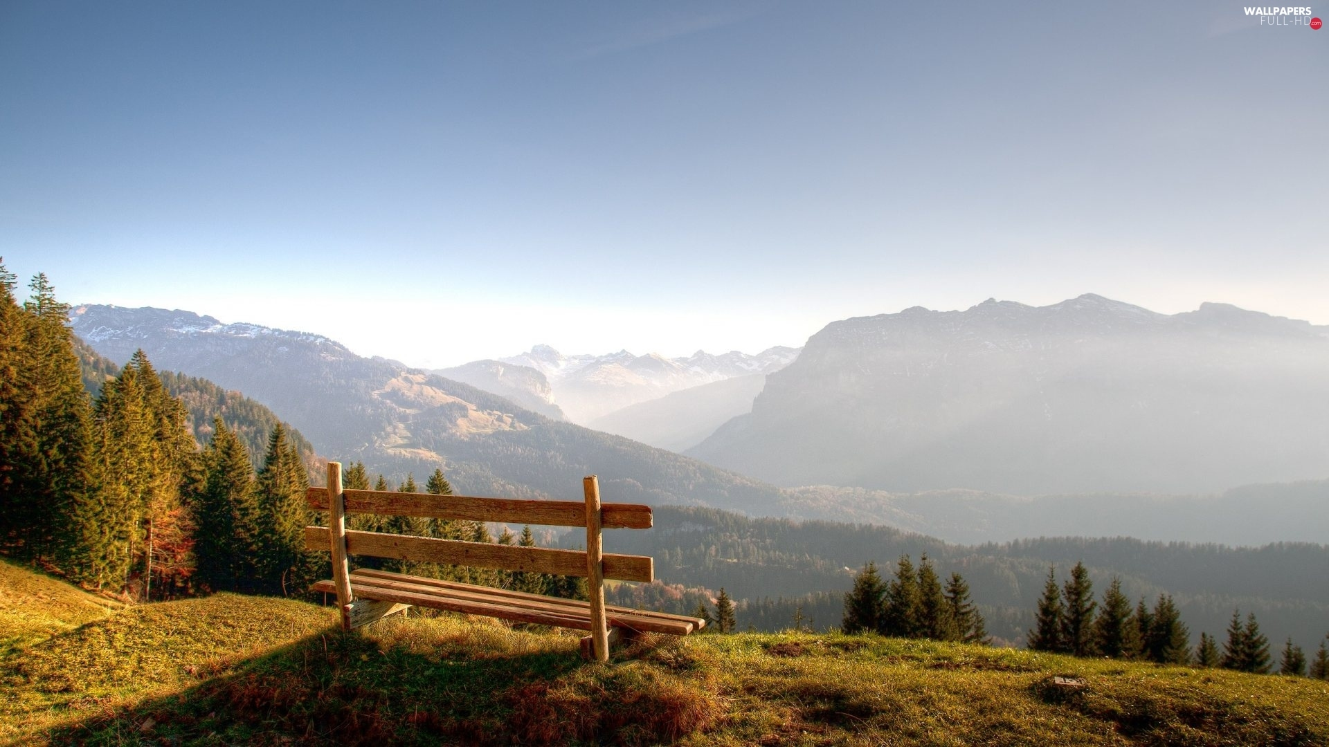 Mountains, forest, Bench