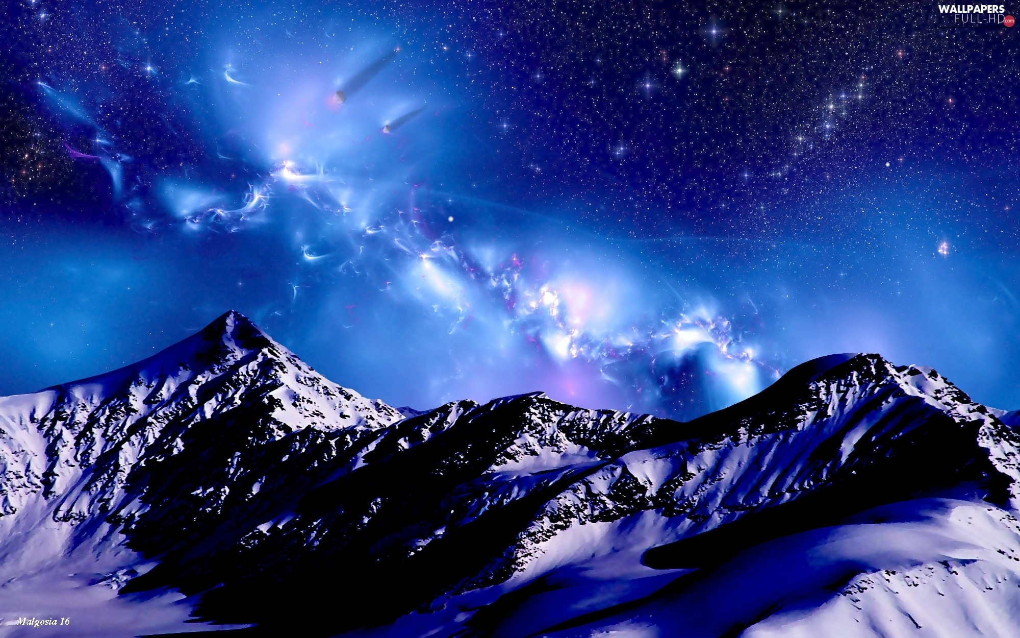 Full Hd Wallpapers P Night Sky Mountains