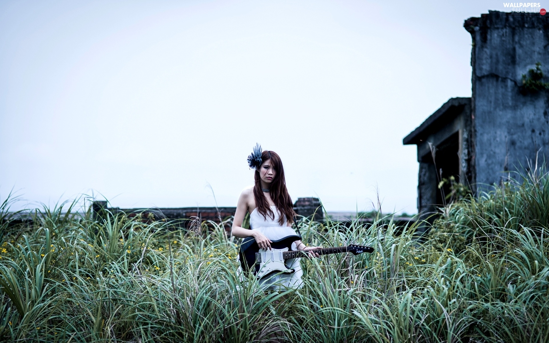 Women, grass, Guitar
